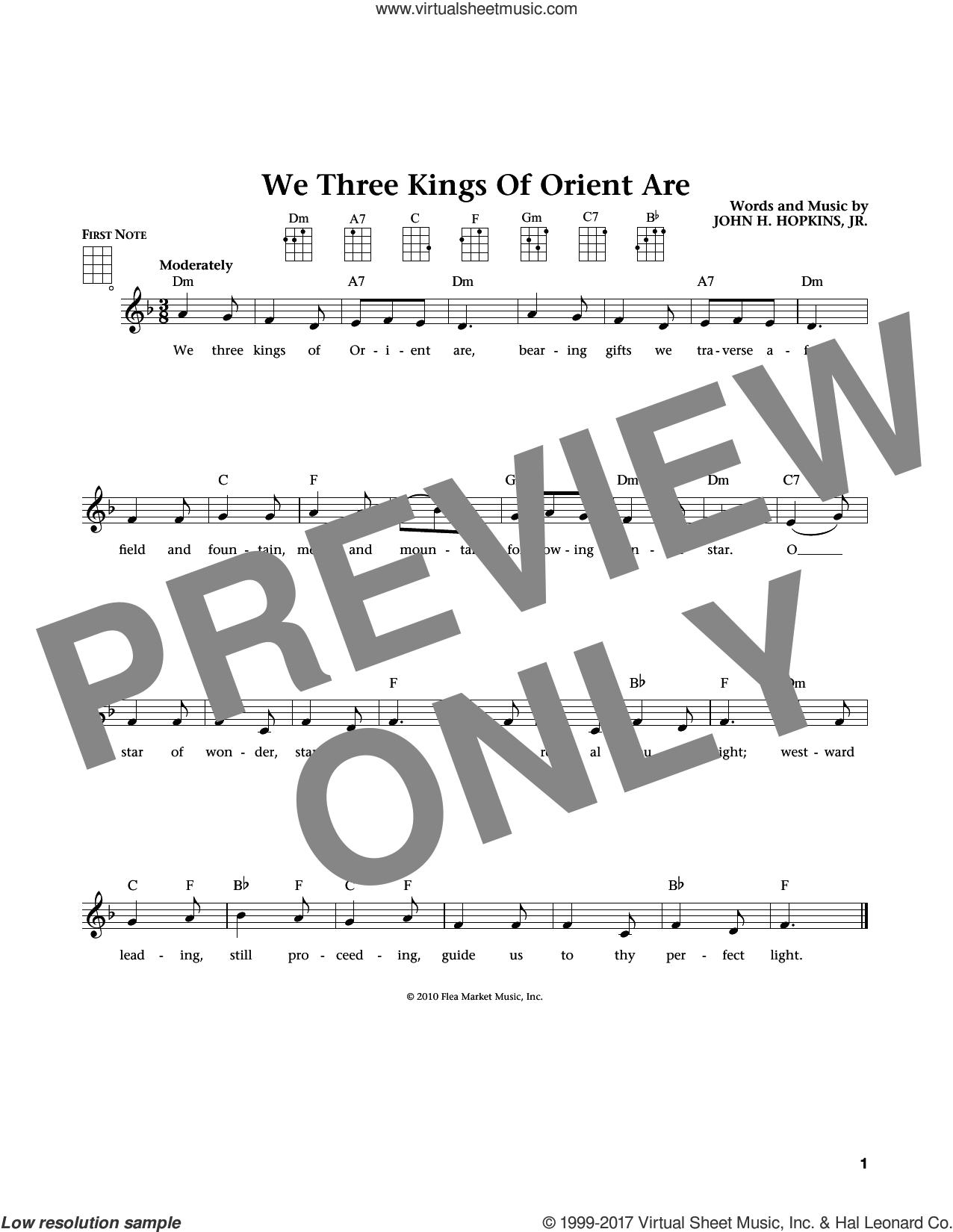 We Three Kings Of Orient Are (from The Daily Ukulele) (arr. Liz and Jim Beloff) sheet music for ukulele by John H. Hopkins, Jr., Jim Beloff and Liz Beloff, intermediate skill level