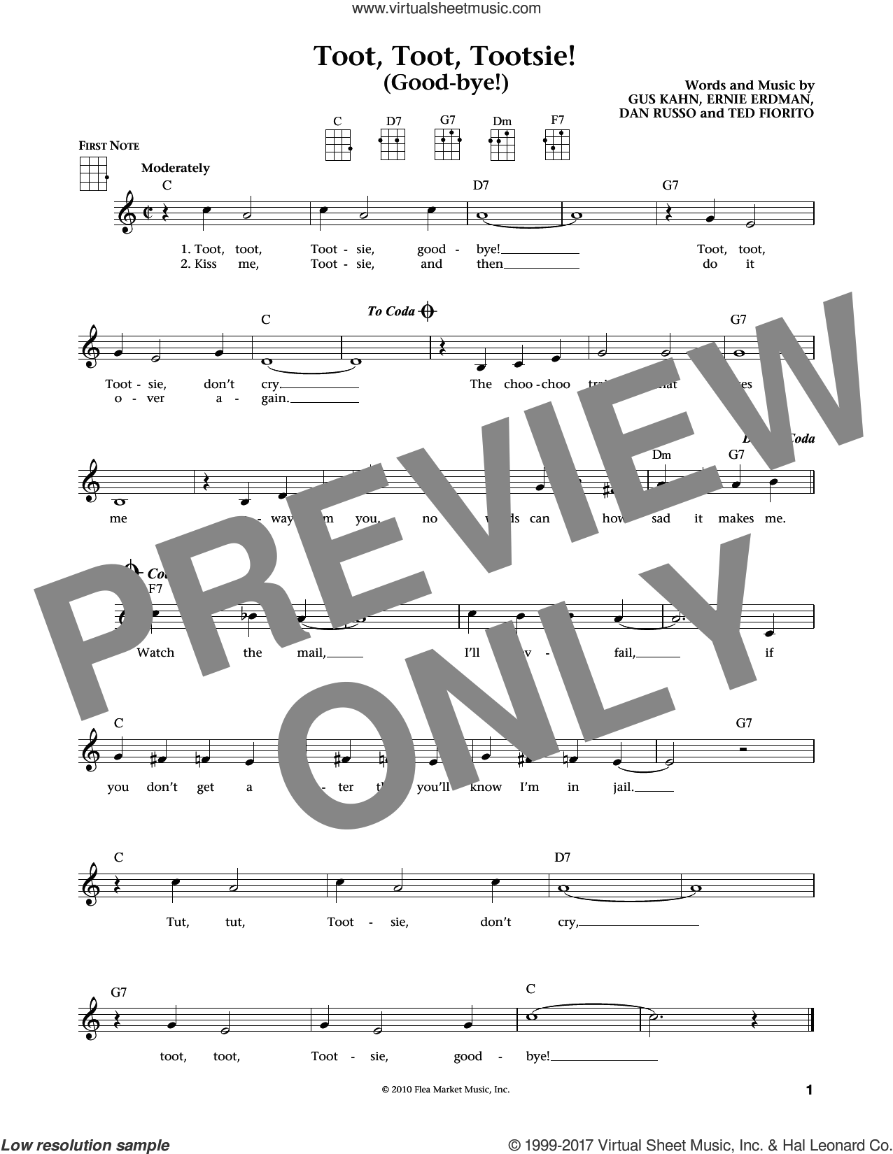 Toot, Toot, Tootsie! (Good-bye!) sheet music for ukulele by Gus Kahn and Ernie Erdman. Score Image Preview.