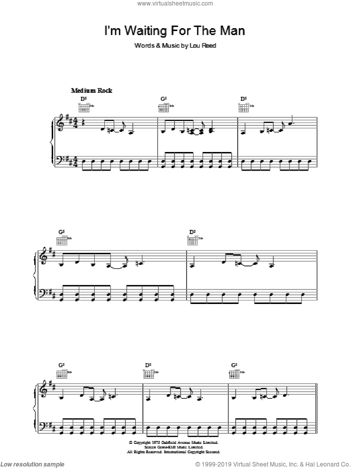 I'm Waiting For The Man sheet music for voice, piano or guitar by Lou Reed, intermediate voice, piano or guitar. Score Image Preview.