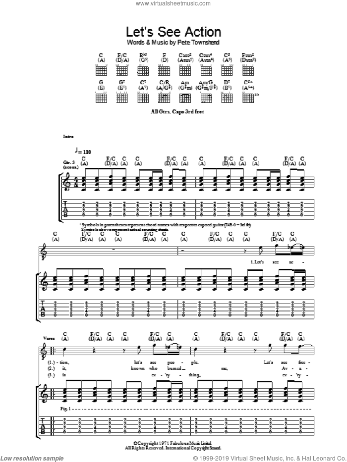 Let's See Action sheet music for guitar (tablature) by Pete Townshend and The Who. Score Image Preview.