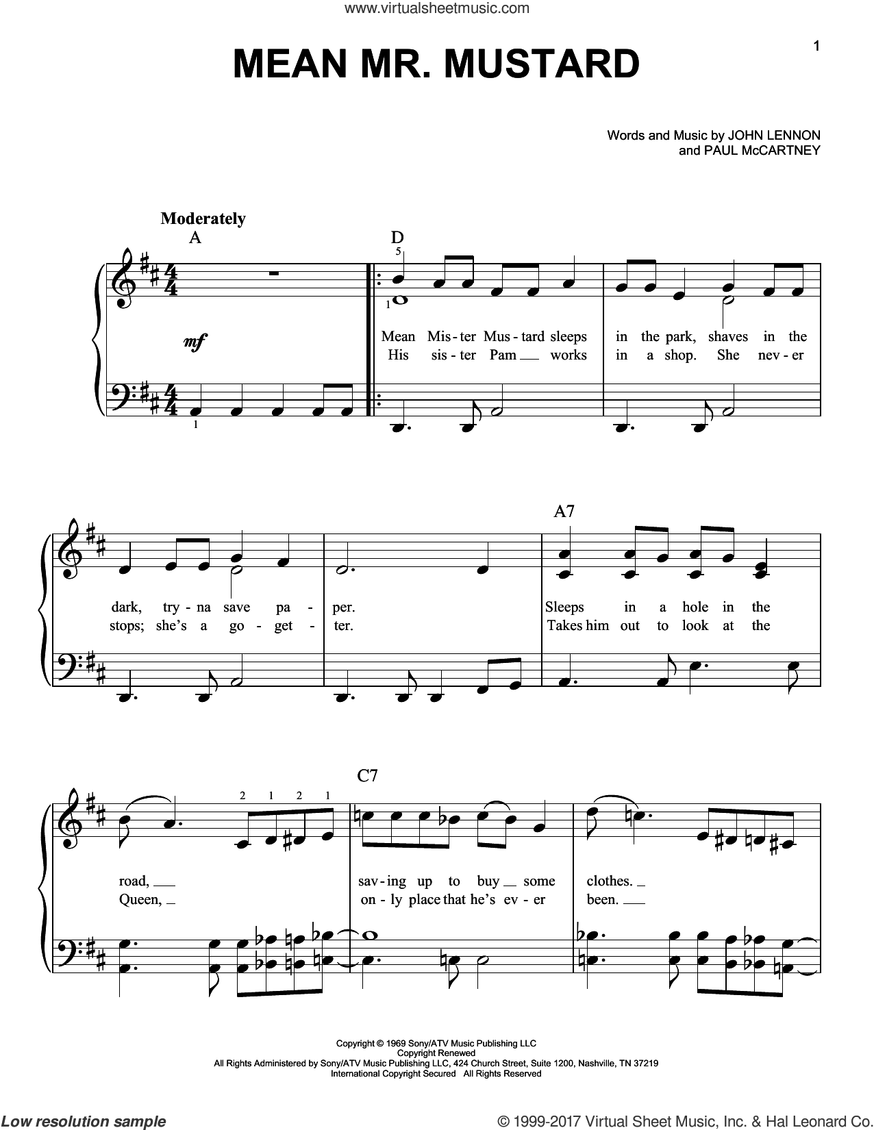 Mean Mr. Mustard sheet music for piano solo by The Beatles, John Lennon and Paul McCartney, easy skill level