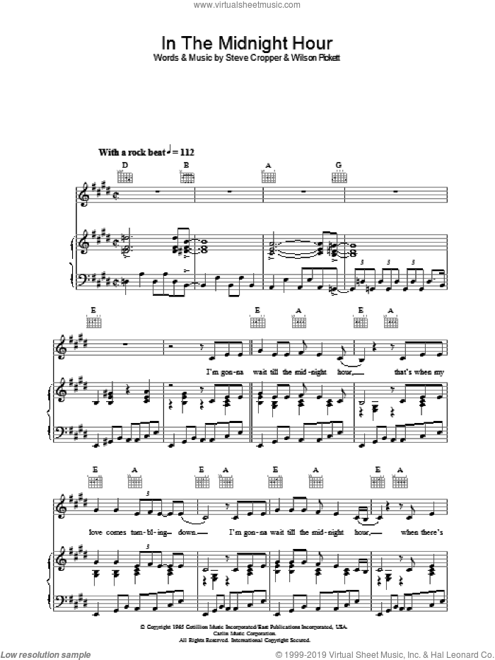 In The Midnight Hour sheet music for voice, piano or guitar by Wilson Pickett and Steve Cropper, intermediate skill level