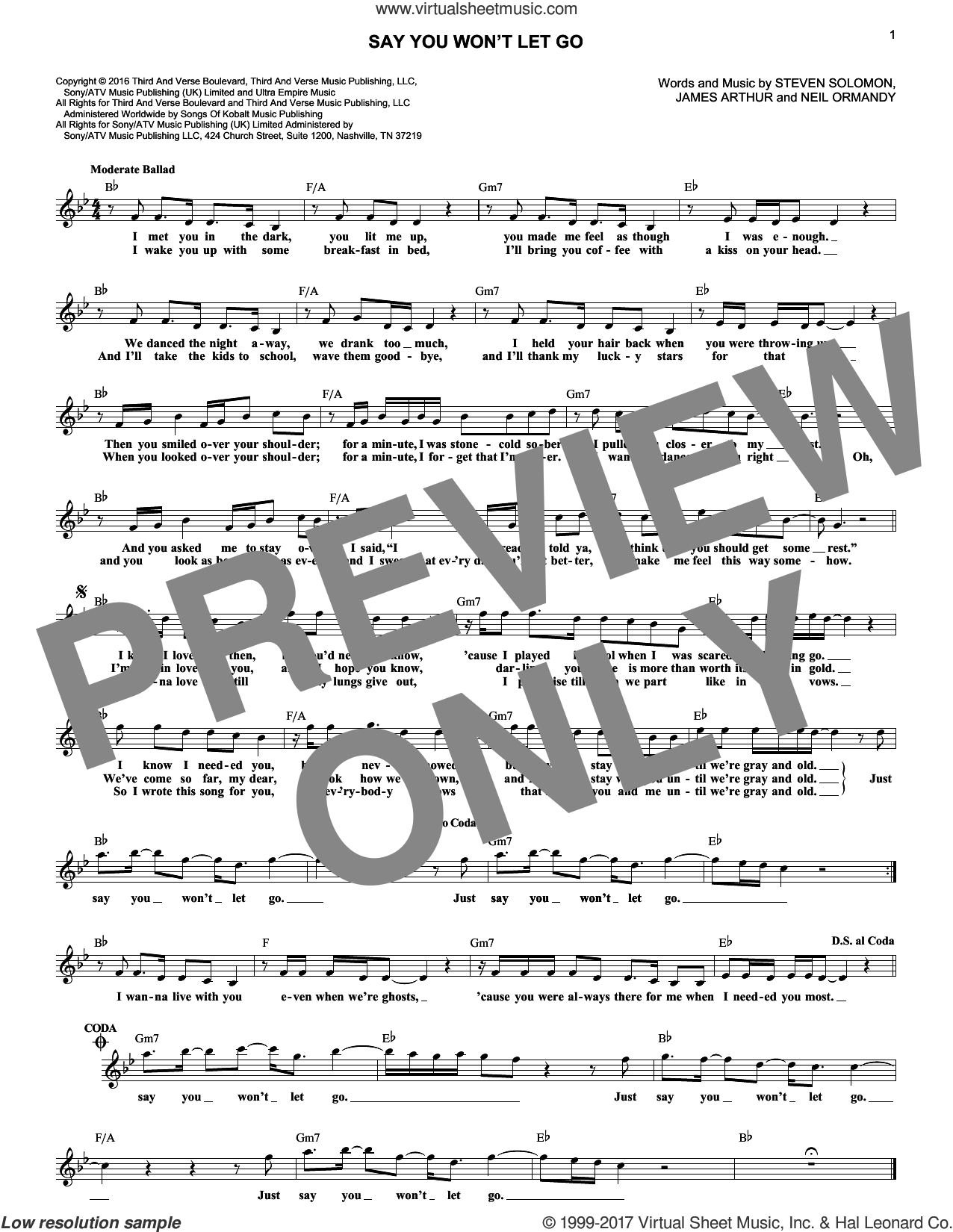 Say You Won't Let Go sheet music for voice and other instruments (fake book) by James Arthur, Neil Ormandy and Steve Solomon, intermediate. Score Image Preview.