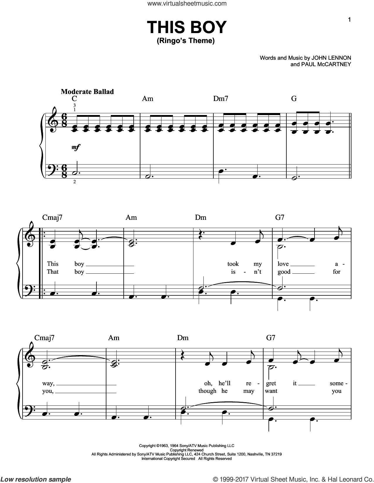 This Boy (Ringo's Theme) sheet music for piano solo by Paul McCartney, The Beatles and John Lennon. Score Image Preview.