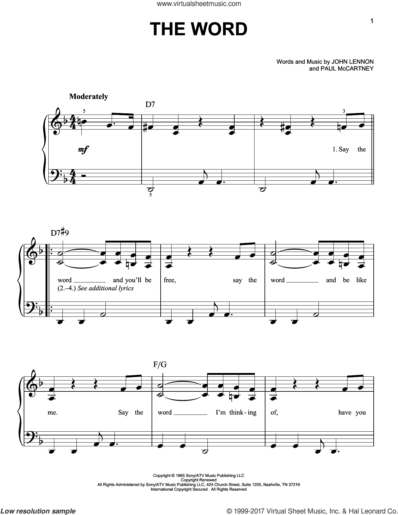 The Word sheet music for piano solo by The Beatles, John Lennon and Paul McCartney. Score Image Preview.