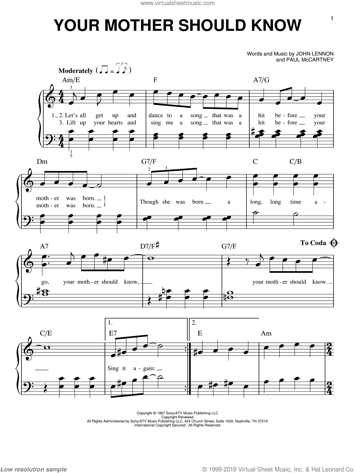 Your Mother Should Know sheet music for piano solo by The Beatles, John Lennon and Paul McCartney, easy. Score Image Preview.