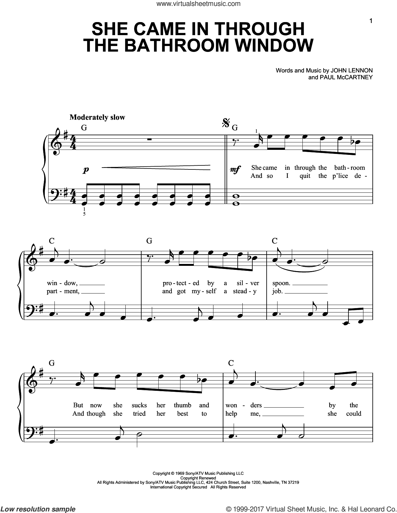 She Came In Through The Bathroom Window sheet music for piano solo by The Beatles, Joe Cocker, John Lennon and Paul McCartney, easy skill level