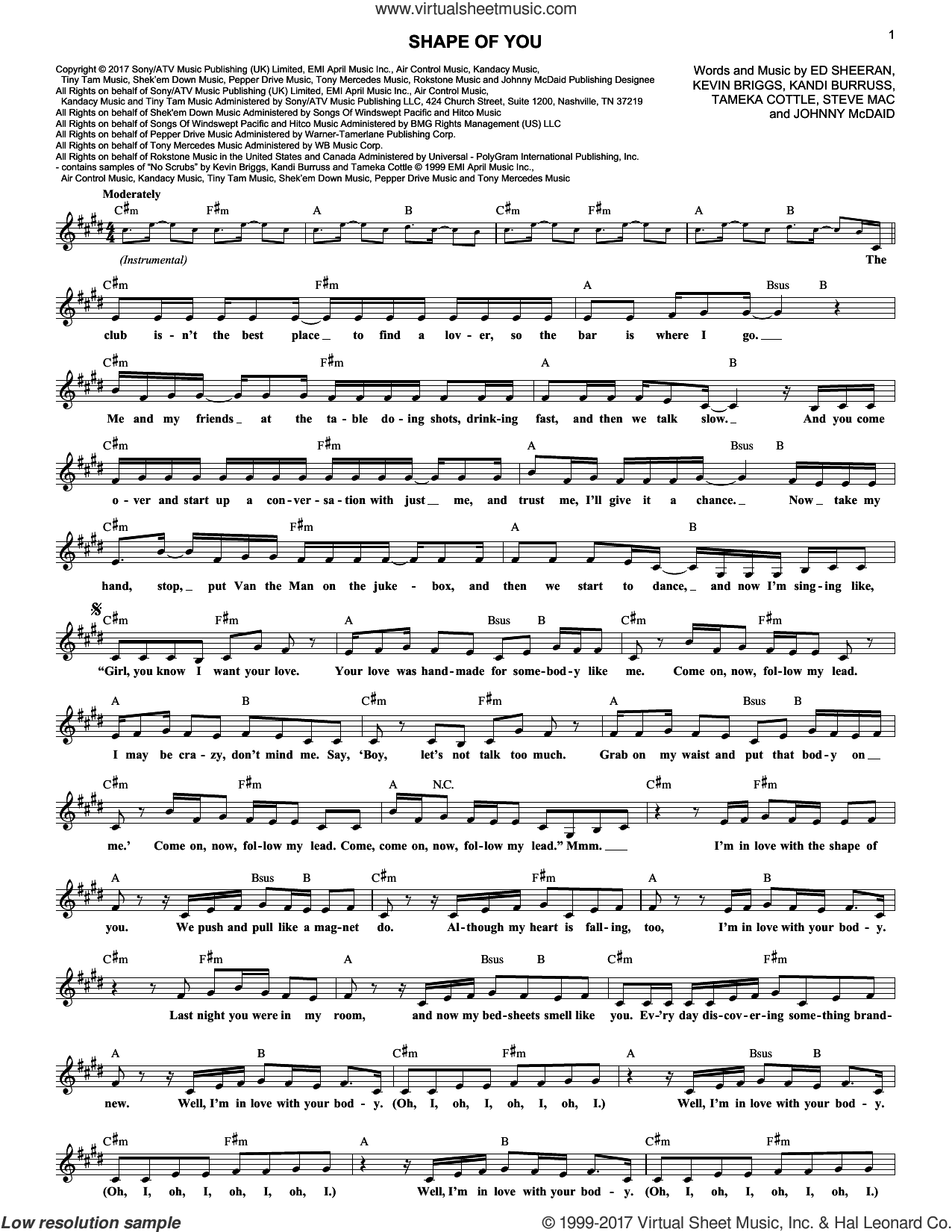 Shape Of You sheet music for voice and other instruments (fake book) by Ed Sheeran, Johnny McDaid, Kandi Burruss, Kevin Briggs, Steve Mac and Tameka Cottle, intermediate skill level
