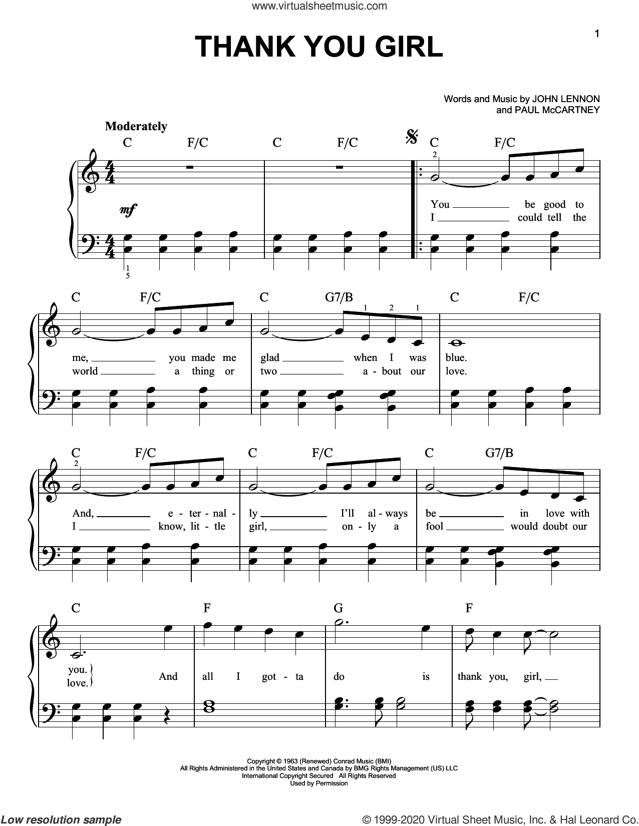 Thank You Girl sheet music for piano solo by The Beatles, John Lennon and Paul McCartney, easy skill level
