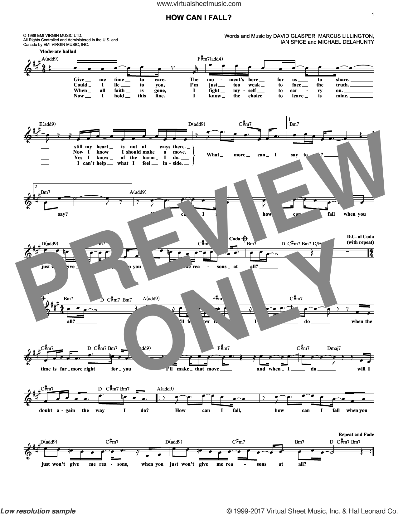 How Can I Fall? sheet music for voice and other instruments (fake book) by Breathe, intermediate. Score Image Preview.