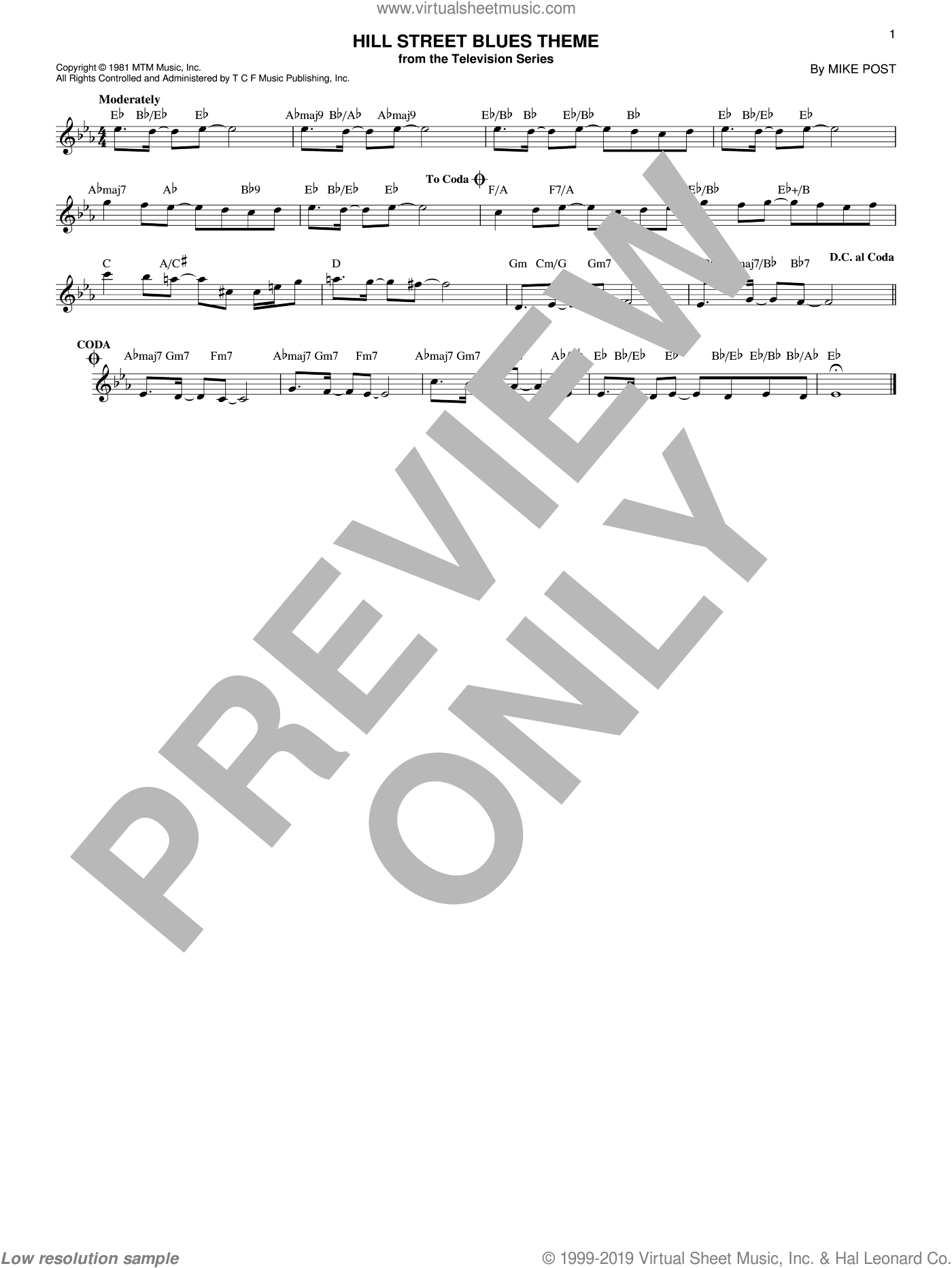 Hill Street Blues Theme sheet music for voice and other instruments (fake book) by Mike Post, intermediate. Score Image Preview.