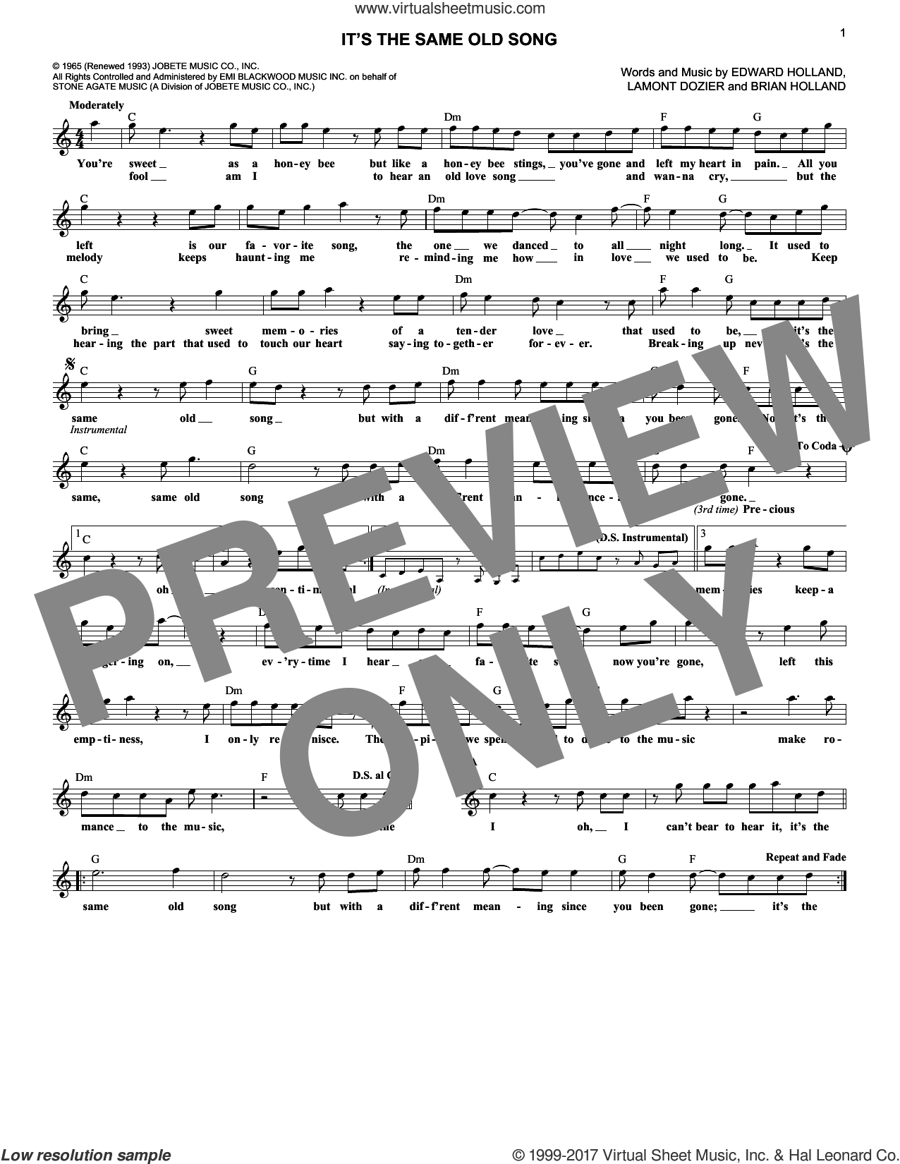 It's The Same Old Song sheet music for voice and other instruments (fake book) by The Four Tops, Brian Holland, Eddie Holland and Lamont Dozier, intermediate skill level