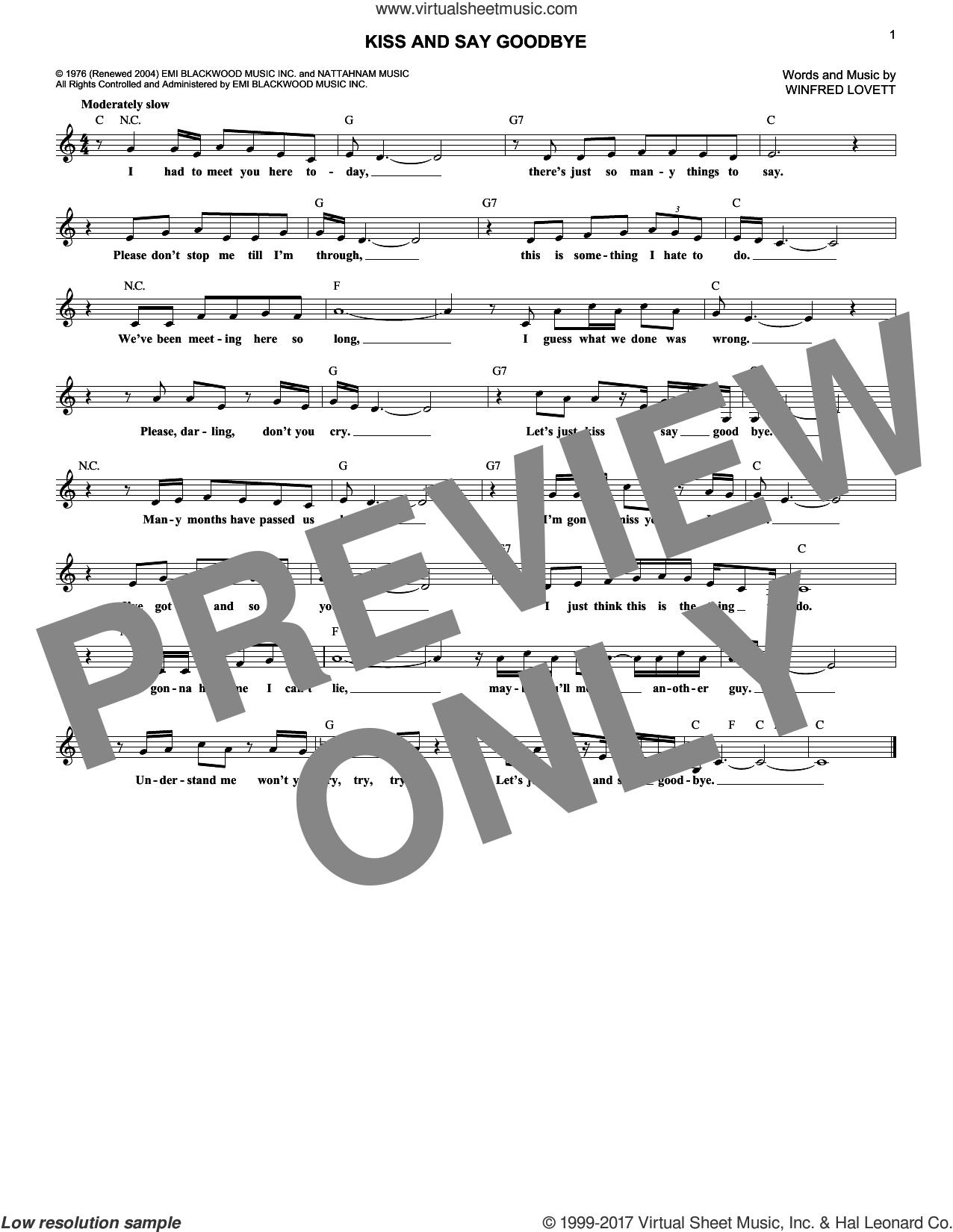Kiss And Say Goodbye sheet music for voice and other instruments (fake book) by The Manhattans and Winfred Lovett, intermediate skill level