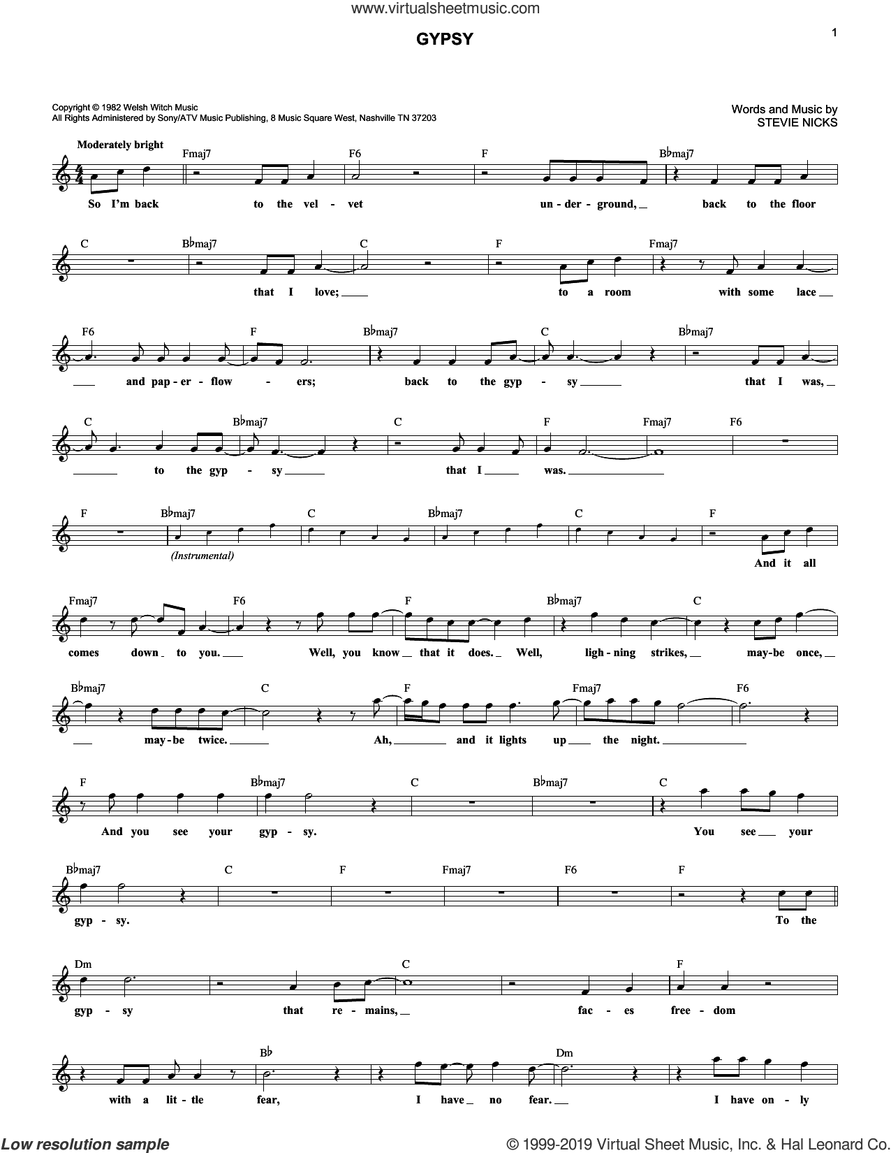 Gypsy sheet music for voice and other instruments (fake book) by Fleetwood Mac and Stevie Nicks, intermediate skill level