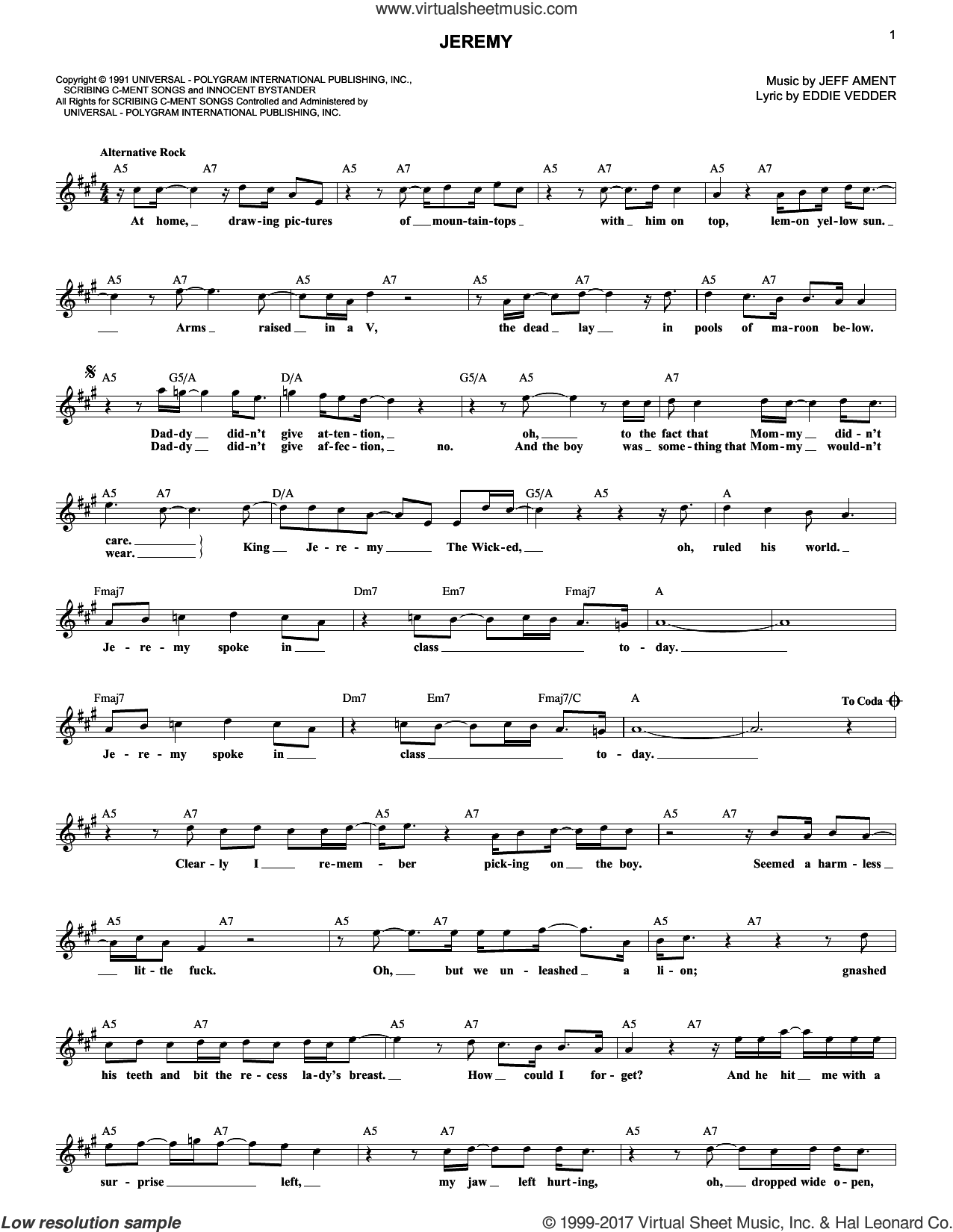 Jeremy sheet music for voice and other instruments (fake book) by Pearl Jam, Eddie Vedder and Jeff Ament, intermediate skill level