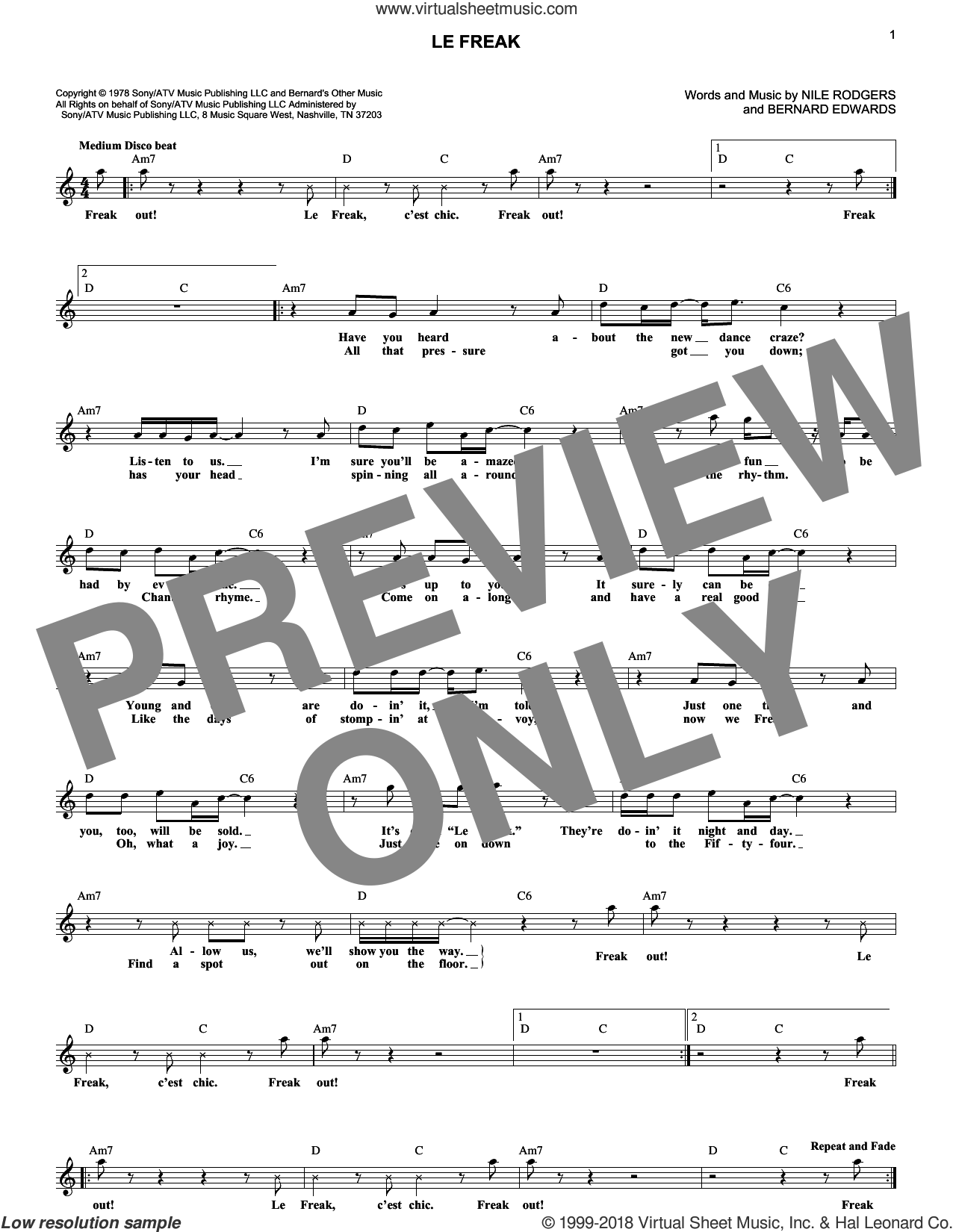 Le Freak sheet music for voice and other instruments (fake book) by Chic, Bernard Edwards and Nile Rodgers. Score Image Preview.