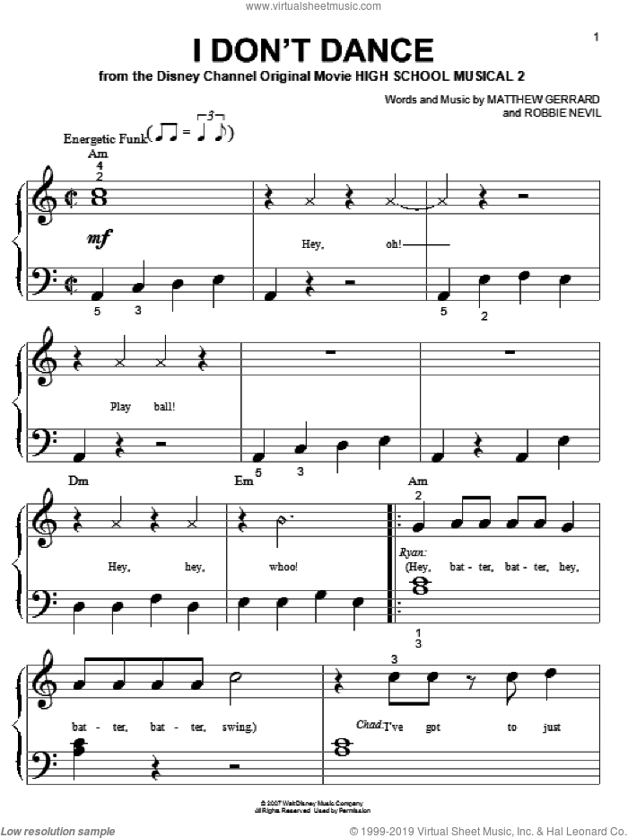 I Don't Dance sheet music for piano solo (big note book) by Robbie Nevil, High School Musical 2 and Matthew Gerrard. Score Image Preview.