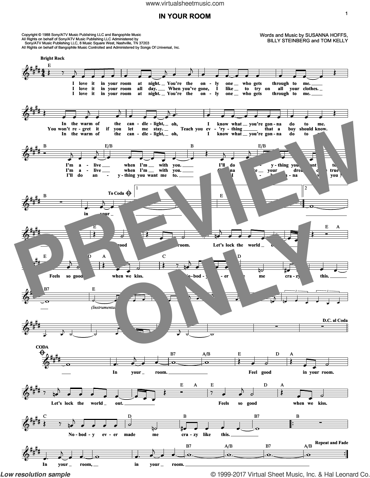 In Your Room sheet music for voice and other instruments (fake book) by Billy Steinberg, The Bangles, Susanna Hoffs and Tom Kelly, intermediate skill level