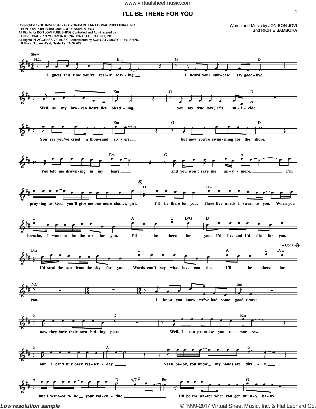 I'll Be There For You sheet music for voice and other instruments (fake book) by Richie Sambora and Bon Jovi. Score Image Preview.