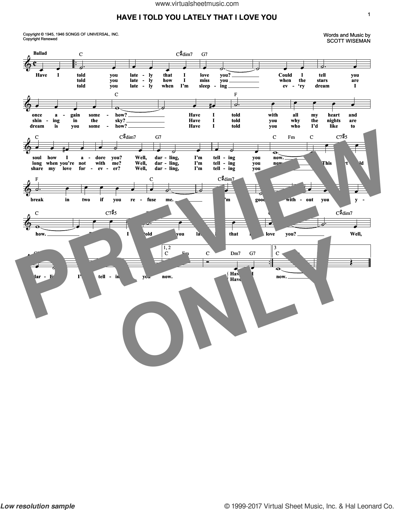 Have I Told You Lately That I Love You sheet music for voice and other instruments (fake book) by Scott Wiseman, Gene Autrey, Kitty Wells & Red Foley and Ricky Nelson, intermediate