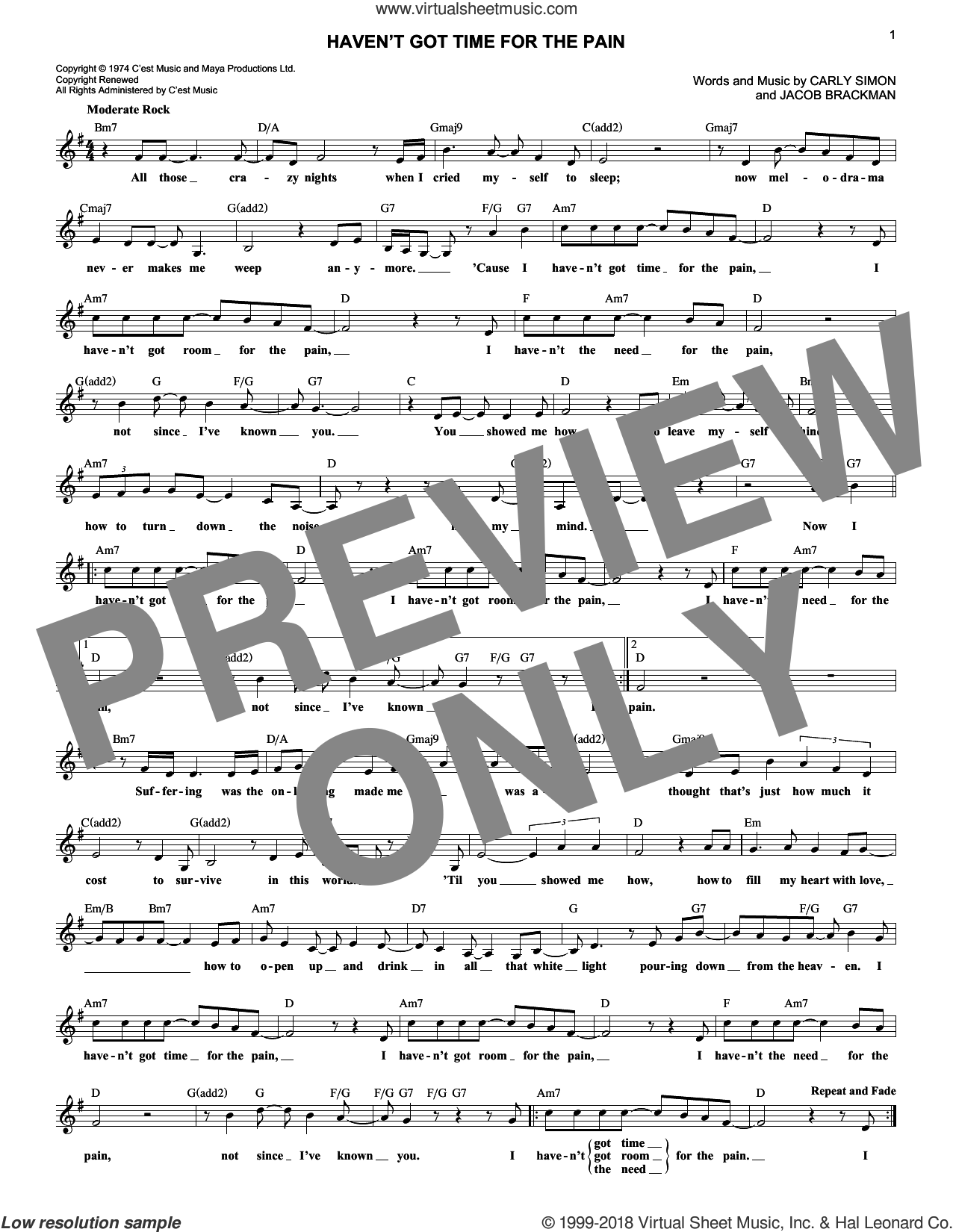 Haven't Got Time For The Pain sheet music for voice and other instruments (fake book) by Carly Simon and Jacob Brackman, intermediate skill level