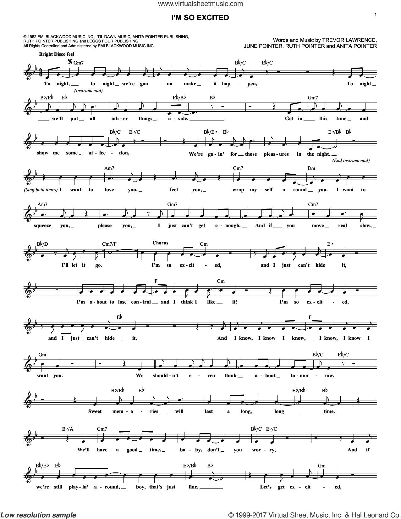 I'm So Excited sheet music for voice and other instruments (fake book) by Ruth Pointer, The Pointer Sisters, Anita Pointer, June Pointer and Trevor Lawrence, intermediate