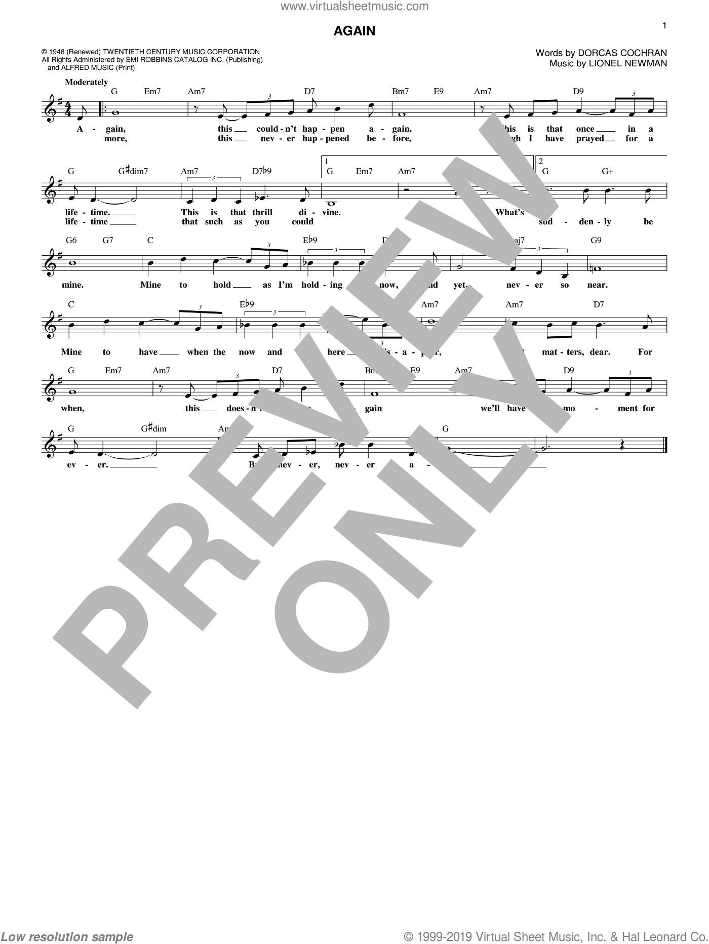 Again sheet music for voice and other instruments (fake book) by Ida Lupino, Dorcas Cochran and Lionel Newman, intermediate skill level