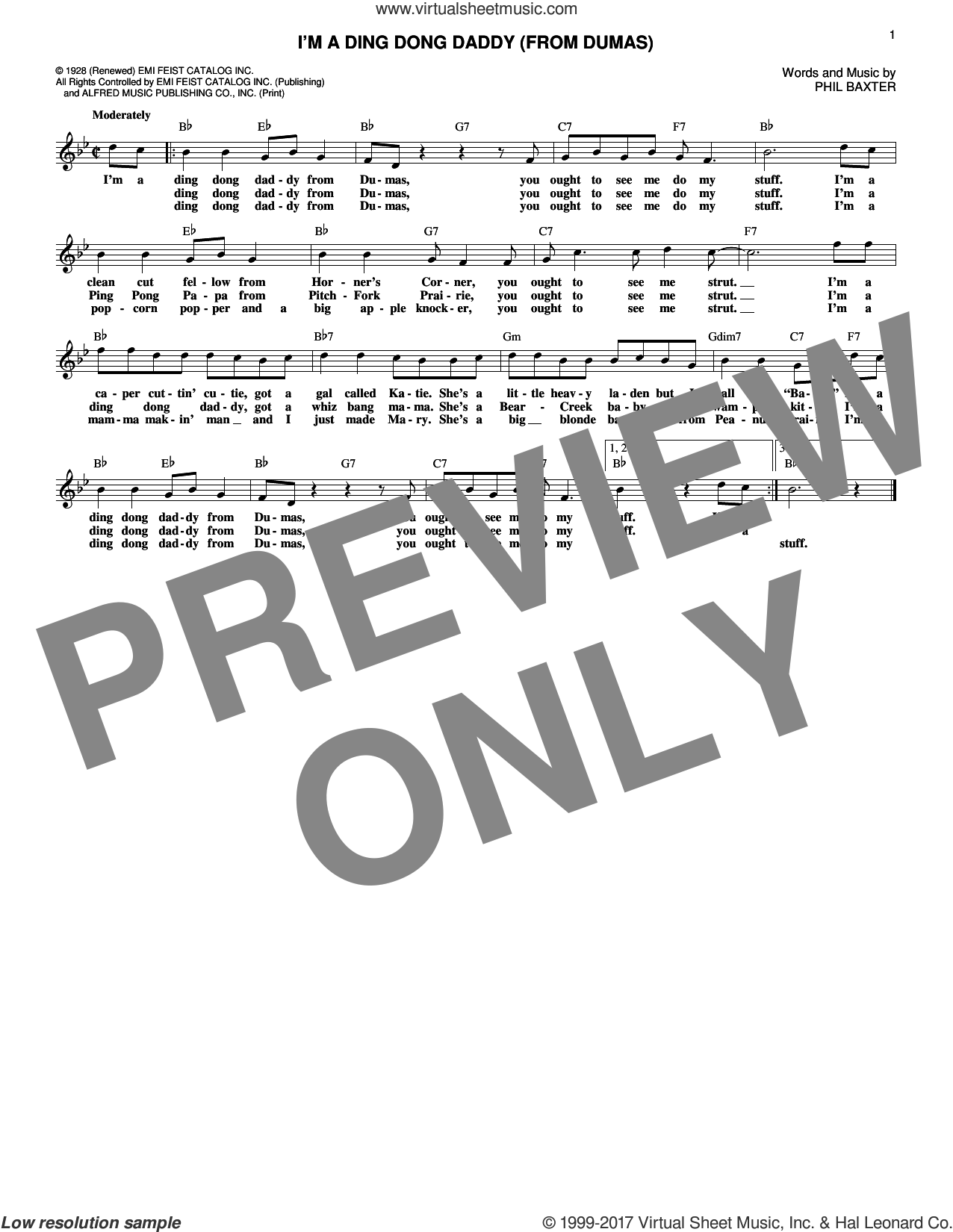 I'm A Ding Dong Daddy (From Dumas) sheet music for voice and other instruments (fake book) by Louis Armstrong and Phil Baxter, intermediate skill level