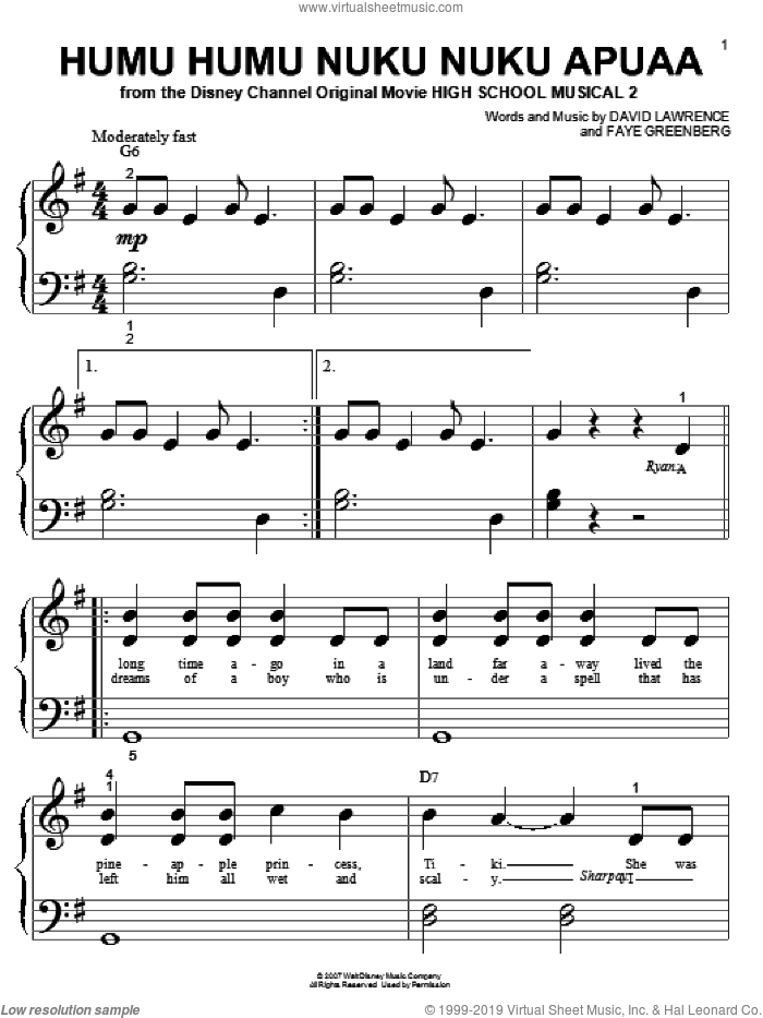 Humu Humu Nuku Nuku Apuaa sheet music for piano solo (big note book) by High School Musical 2 and David Lawrence, easy piano (big note book). Score Image Preview.