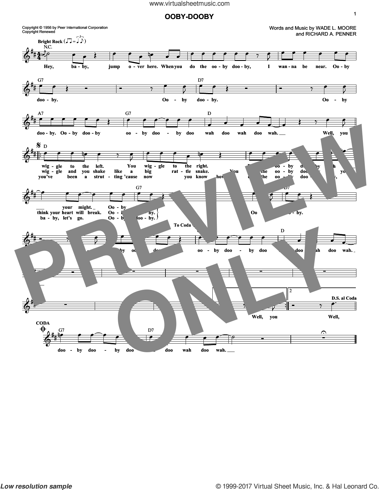 Ooby-Dooby sheet music for voice and other instruments (fake book) by Roy Orbison, Richard A. Penner and Wade L. Moore, intermediate. Score Image Preview.