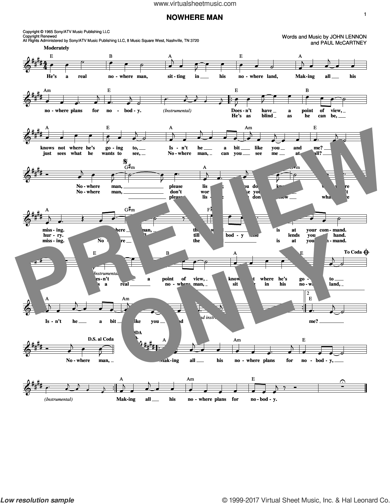 Nowhere Man sheet music for voice and other instruments (fake book) by The Beatles, John Lennon and Paul McCartney, intermediate. Score Image Preview.