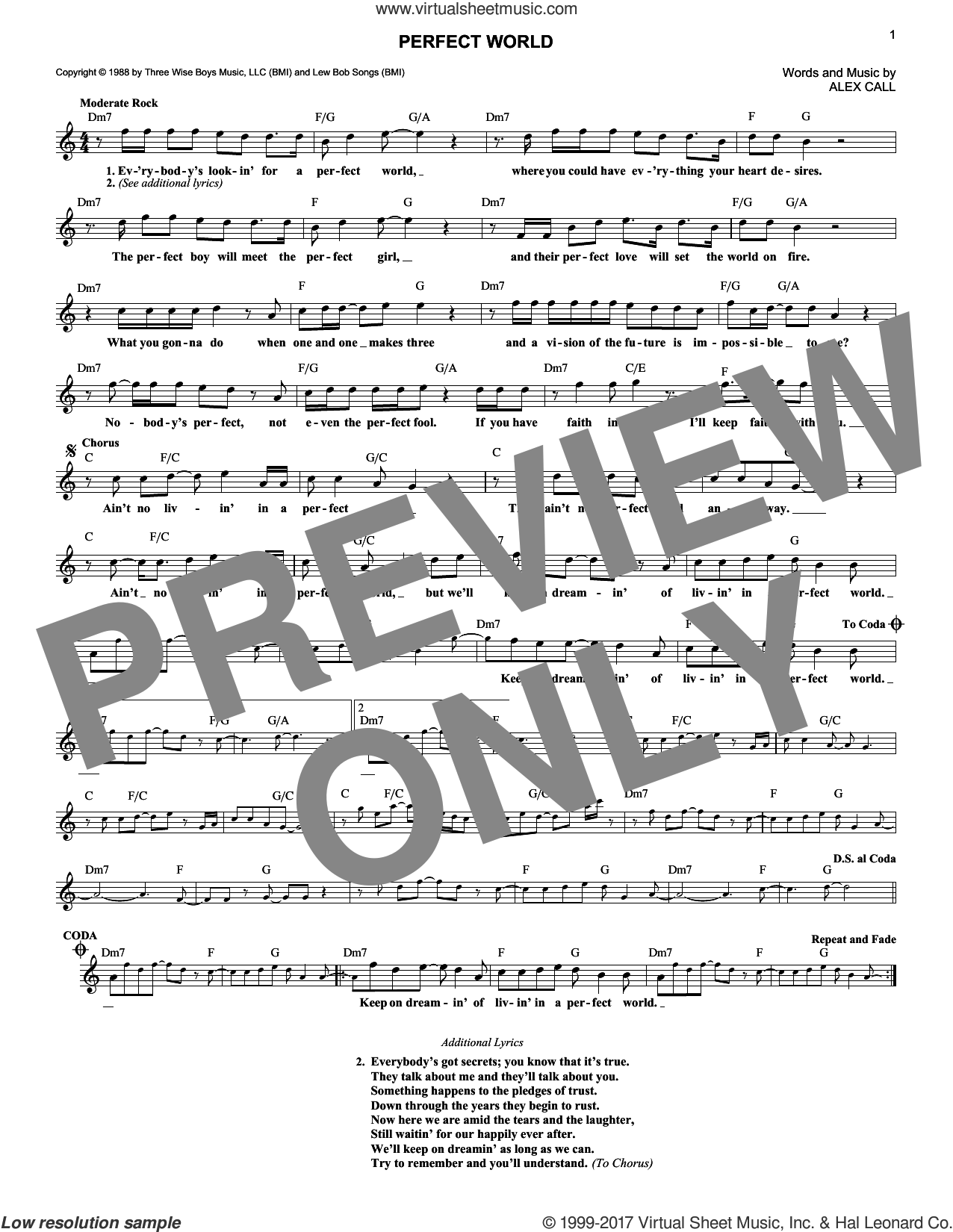 Perfect World sheet music for voice and other instruments (fake book) by Alex Call. Score Image Preview.