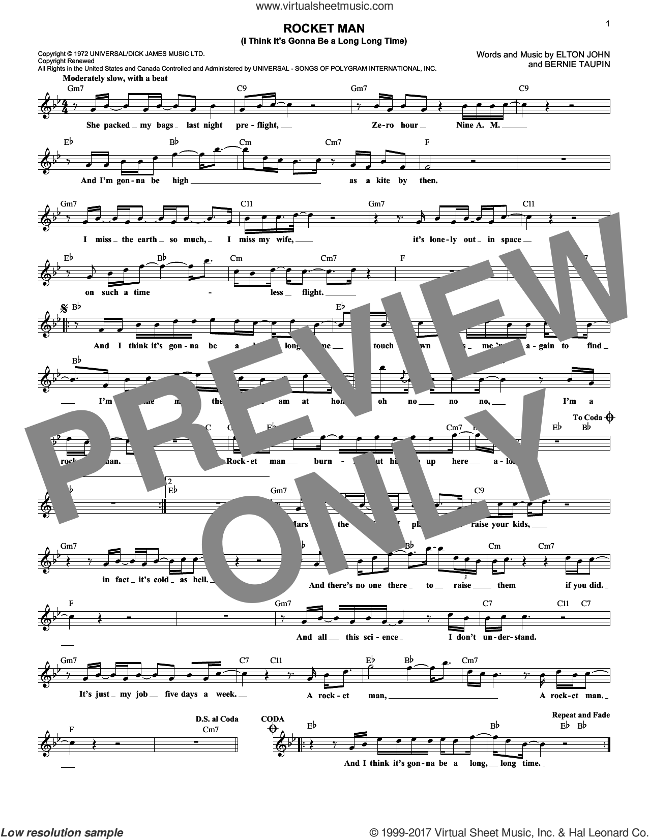 Rocket Man (I Think It's Gonna Be A Long Long Time) sheet music for voice and other instruments (fake book) by Bernie Taupin and Elton John. Score Image Preview.