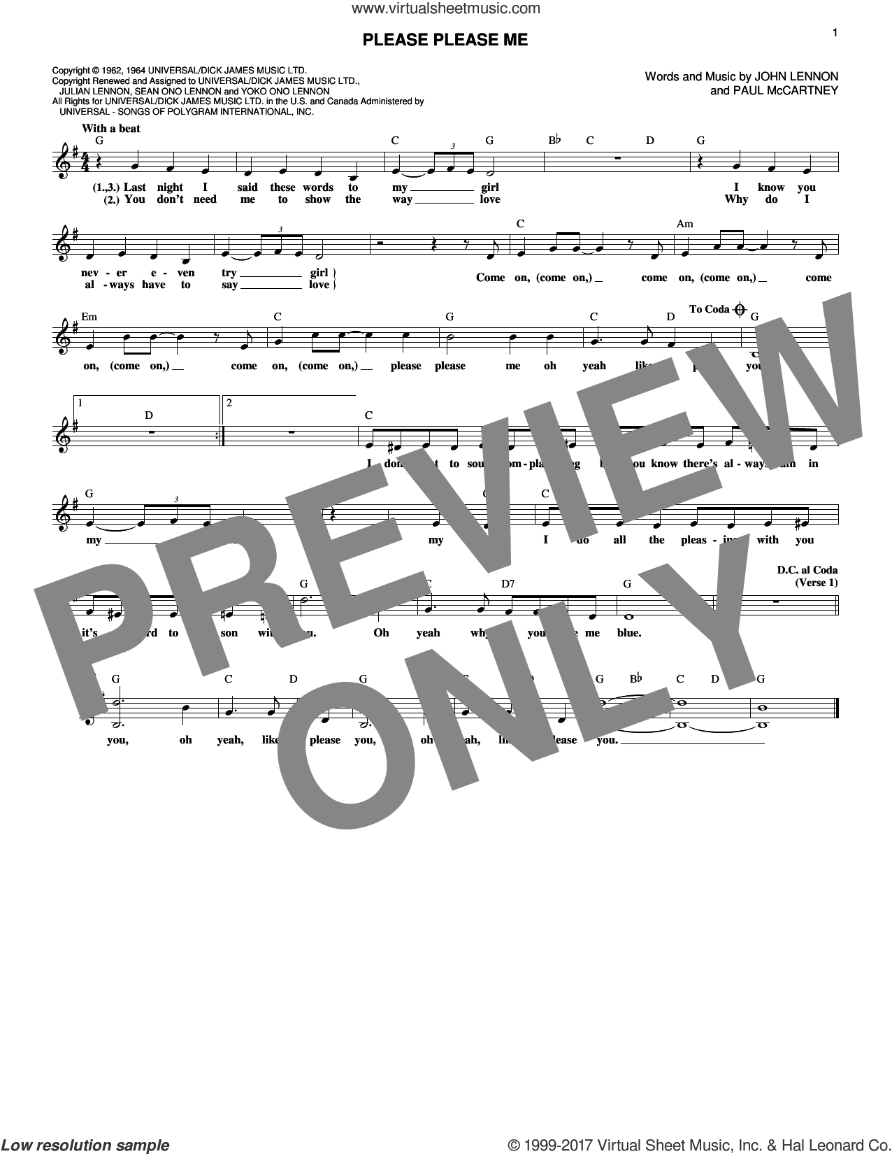 Please Please Me sheet music for voice and other instruments (fake book) by The Beatles, John Lennon and Paul McCartney, intermediate. Score Image Preview.