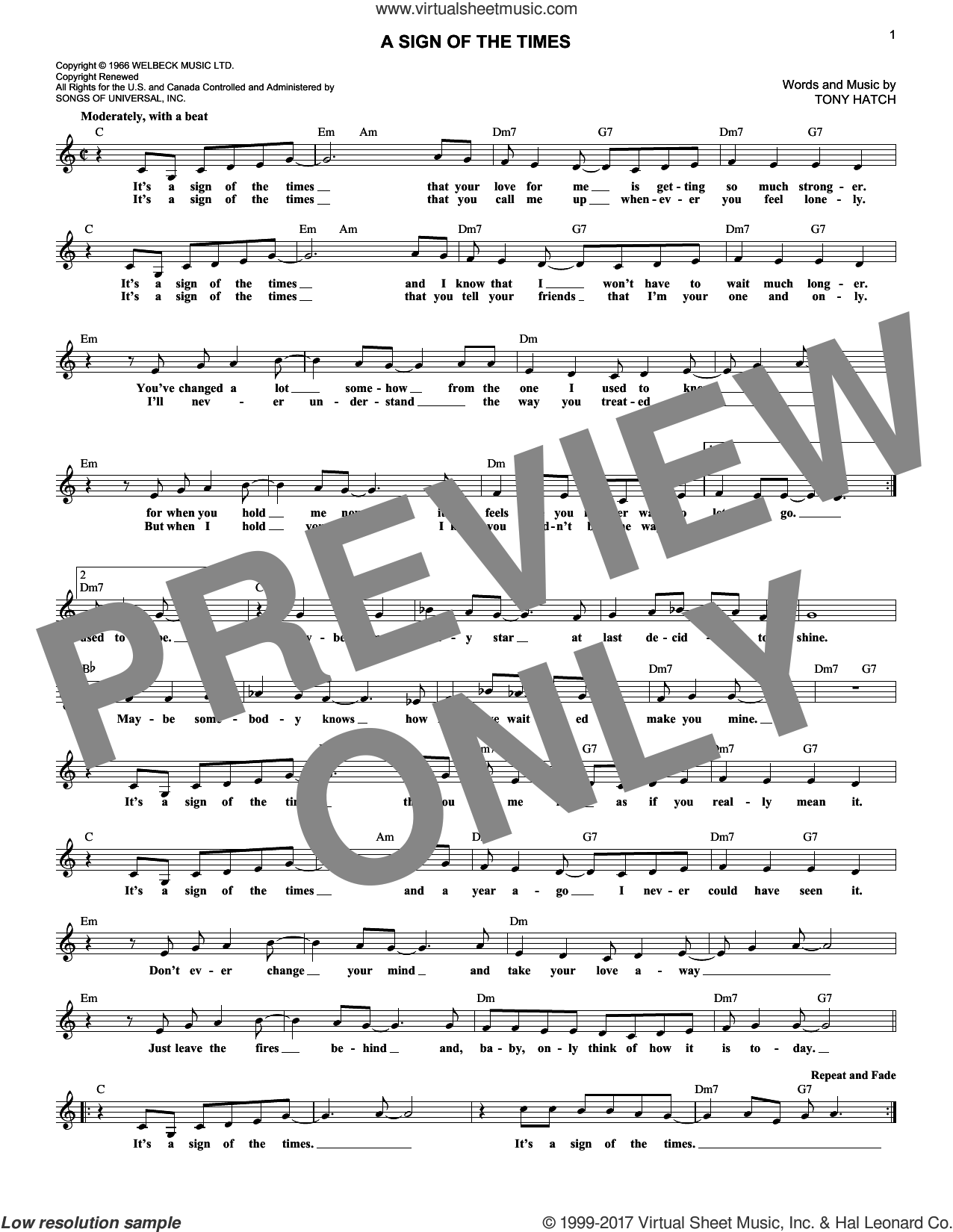 A Sign Of The Times sheet music for voice and other instruments (fake book) by Petula Clark and Tony Hatch, intermediate voice. Score Image Preview.