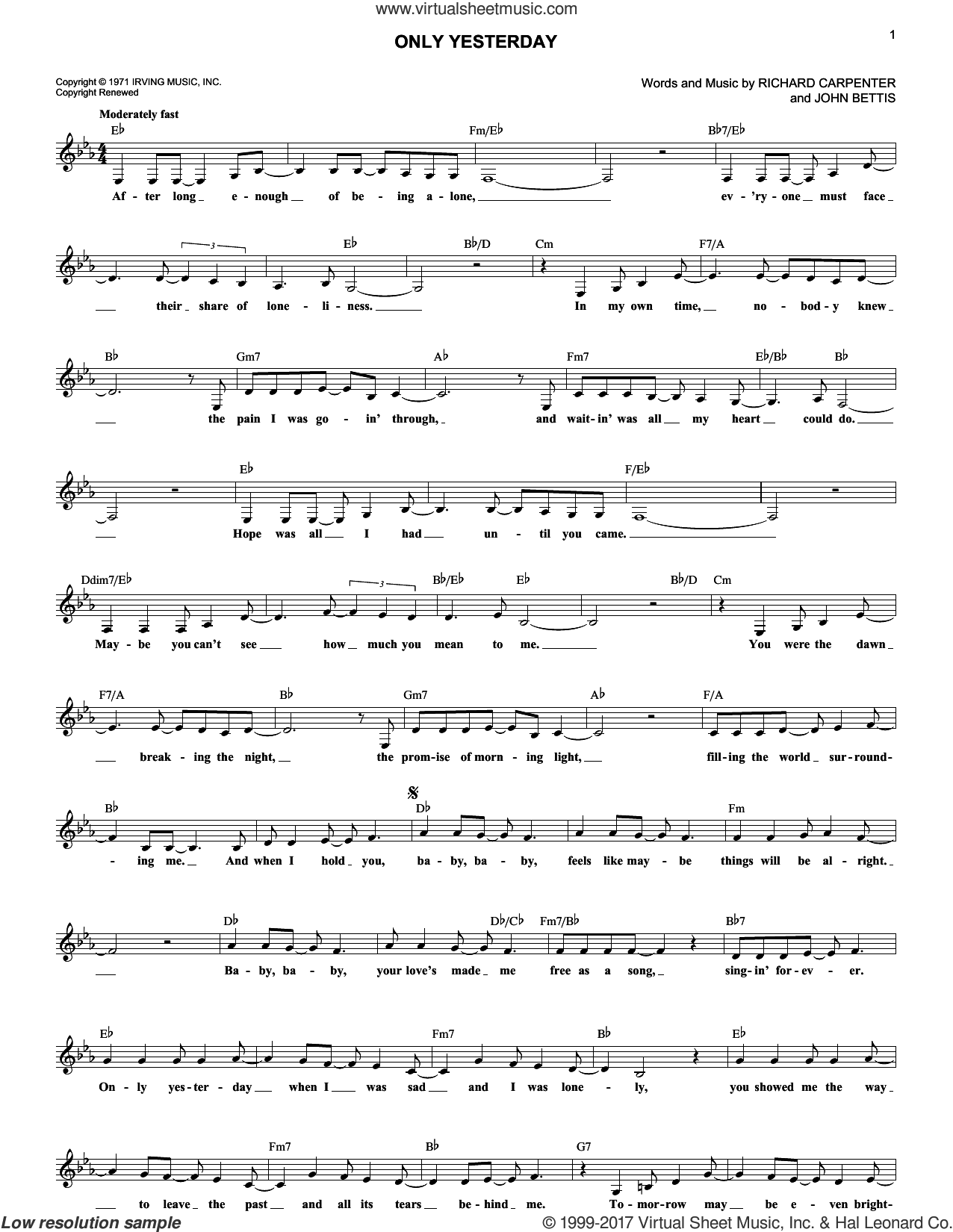 Only Yesterday sheet music for voice and other instruments (fake book) by John Bettis and Carpenters, intermediate. Score Image Preview.
