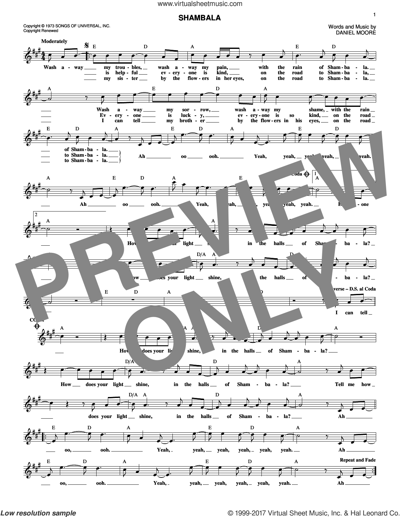 Shambala sheet music for voice and other instruments (fake book) by Three Dog Night, intermediate voice. Score Image Preview.