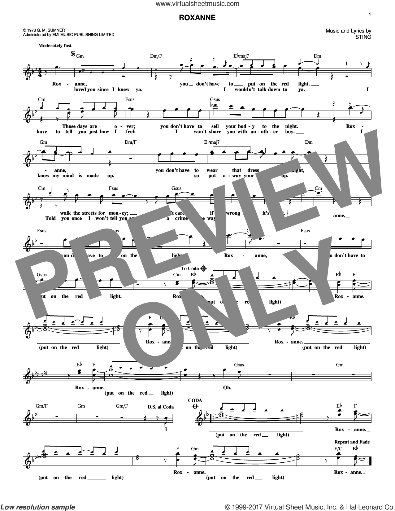 Roxanne sheet music for voice and other instruments (fake book) by The Police, Juliet Simms and Sting, intermediate. Score Image Preview.