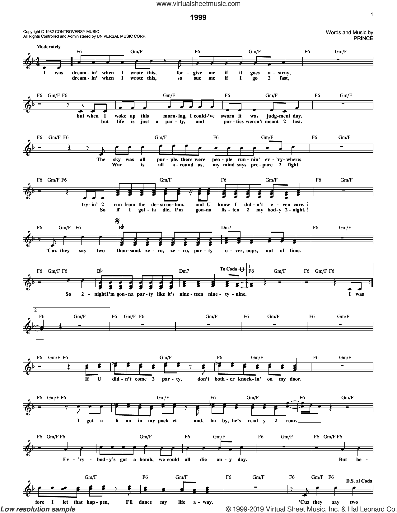 1999 sheet music for voice and other instruments (fake book) by Prince, intermediate skill level