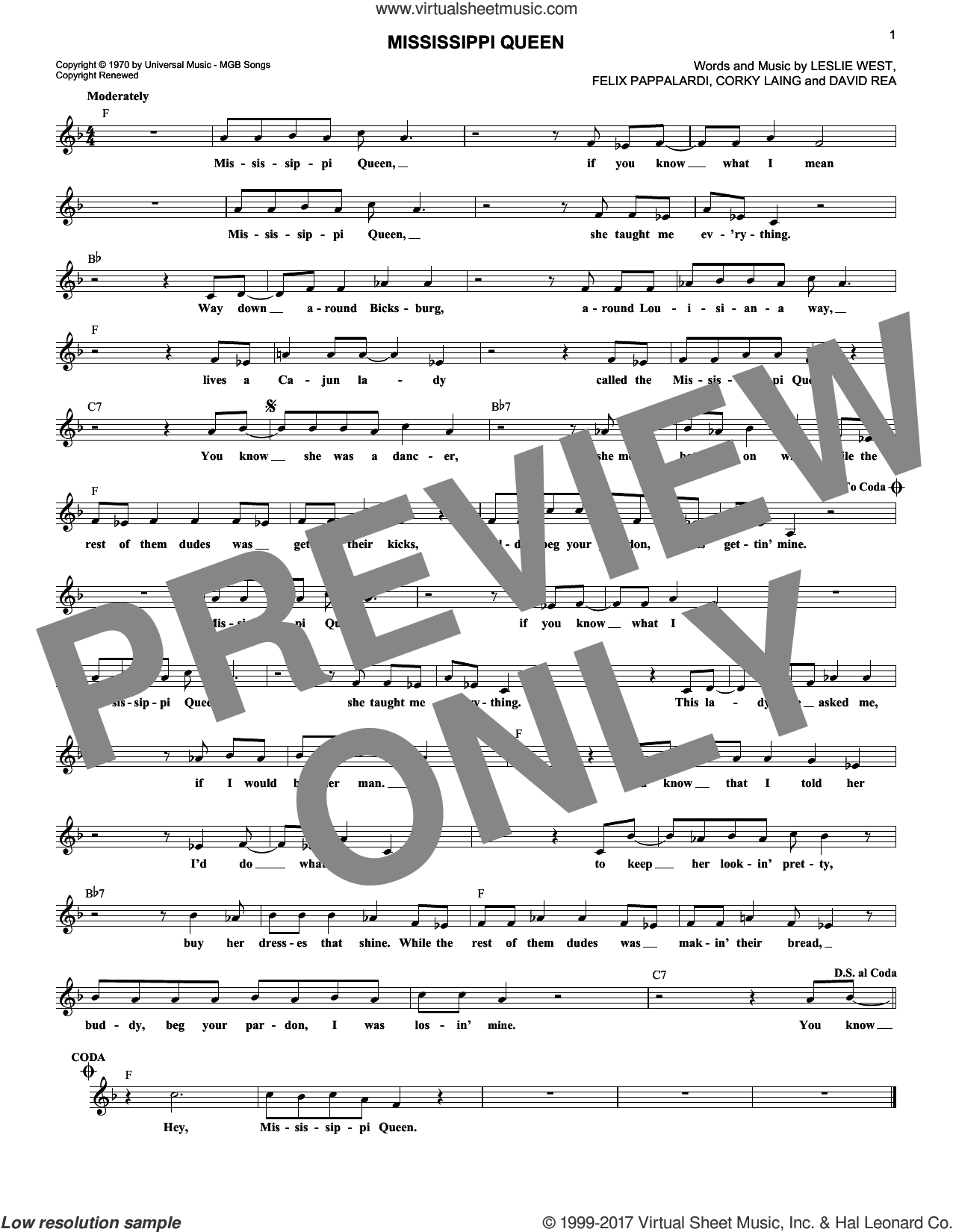 Mississippi Queen sheet music for voice and other instruments (fake book) by Mountain, intermediate. Score Image Preview.