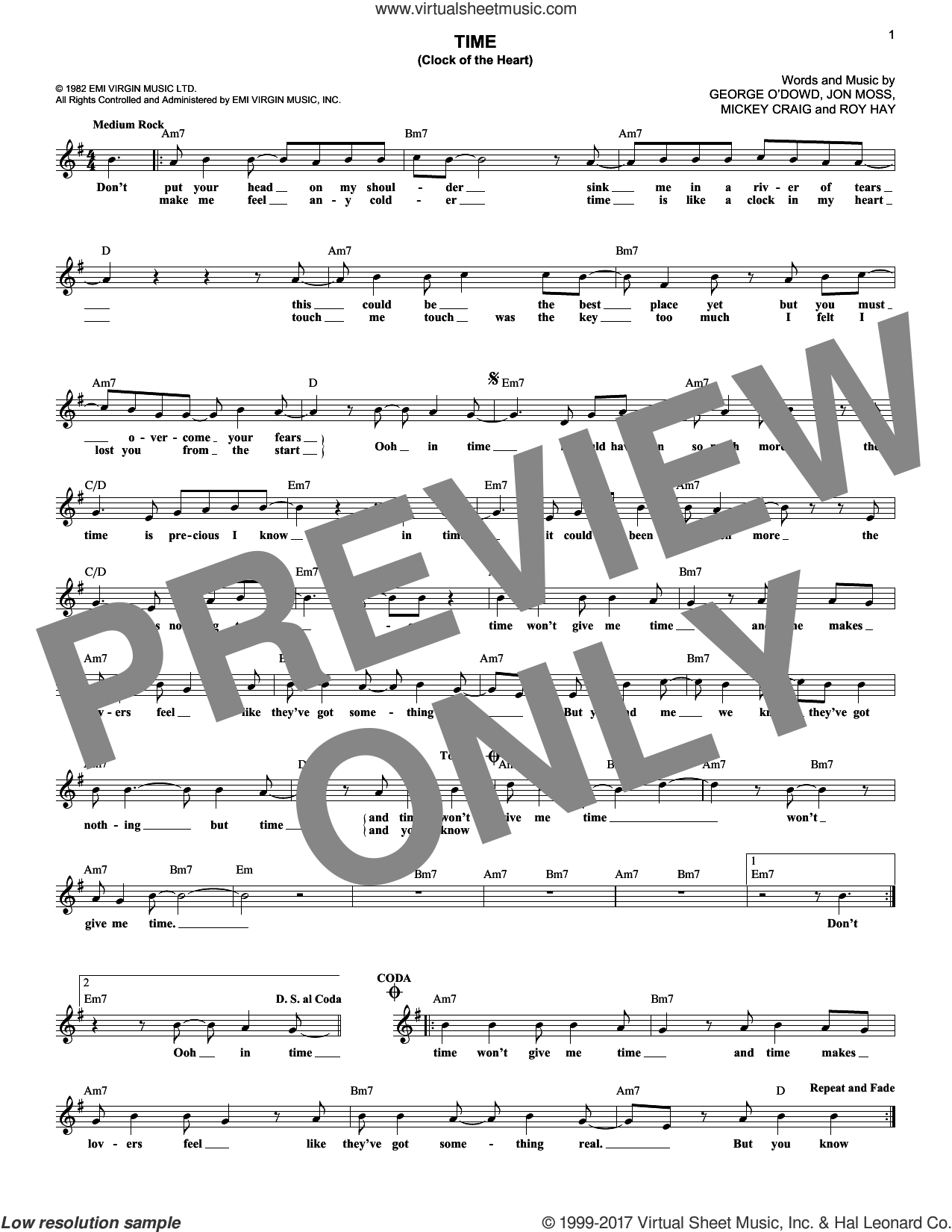 Time (Clock Of The Heart) sheet music for voice and other instruments (fake book) by Culture Club, Jonathan Moss, Michael Craig and Roy Hay, intermediate. Score Image Preview.