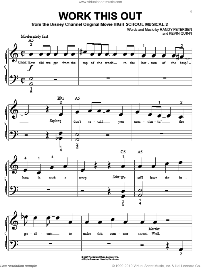 Work This Out sheet music for piano solo (big note book) by High School Musical 2, Kevin Quinn and Randy Petersen, easy piano (big note book). Score Image Preview.