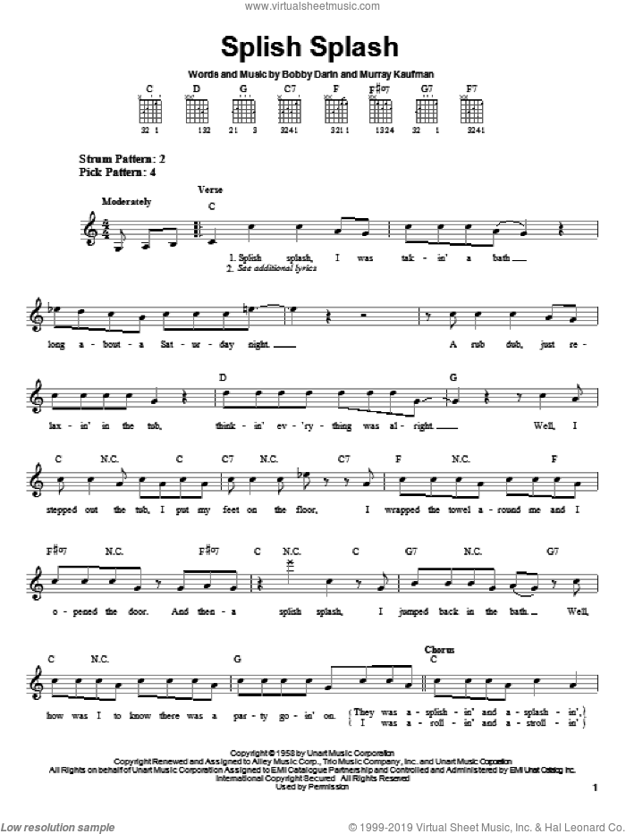 Splish Splash sheet music for guitar solo (chords) by Bobby Darin and Murray Kaufman, easy guitar (chords)
