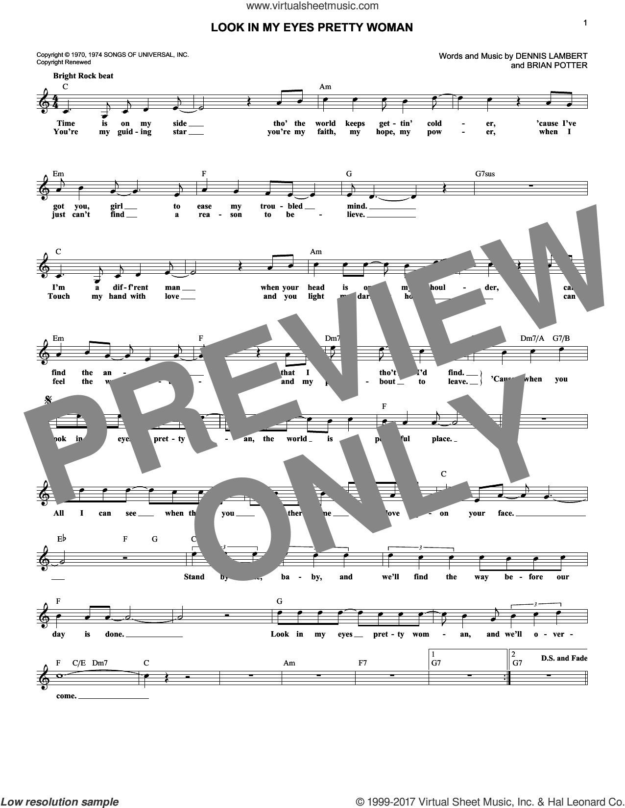Look In My Eyes Pretty Woman sheet music for voice and other instruments (fake book) by Dawn. Score Image Preview.
