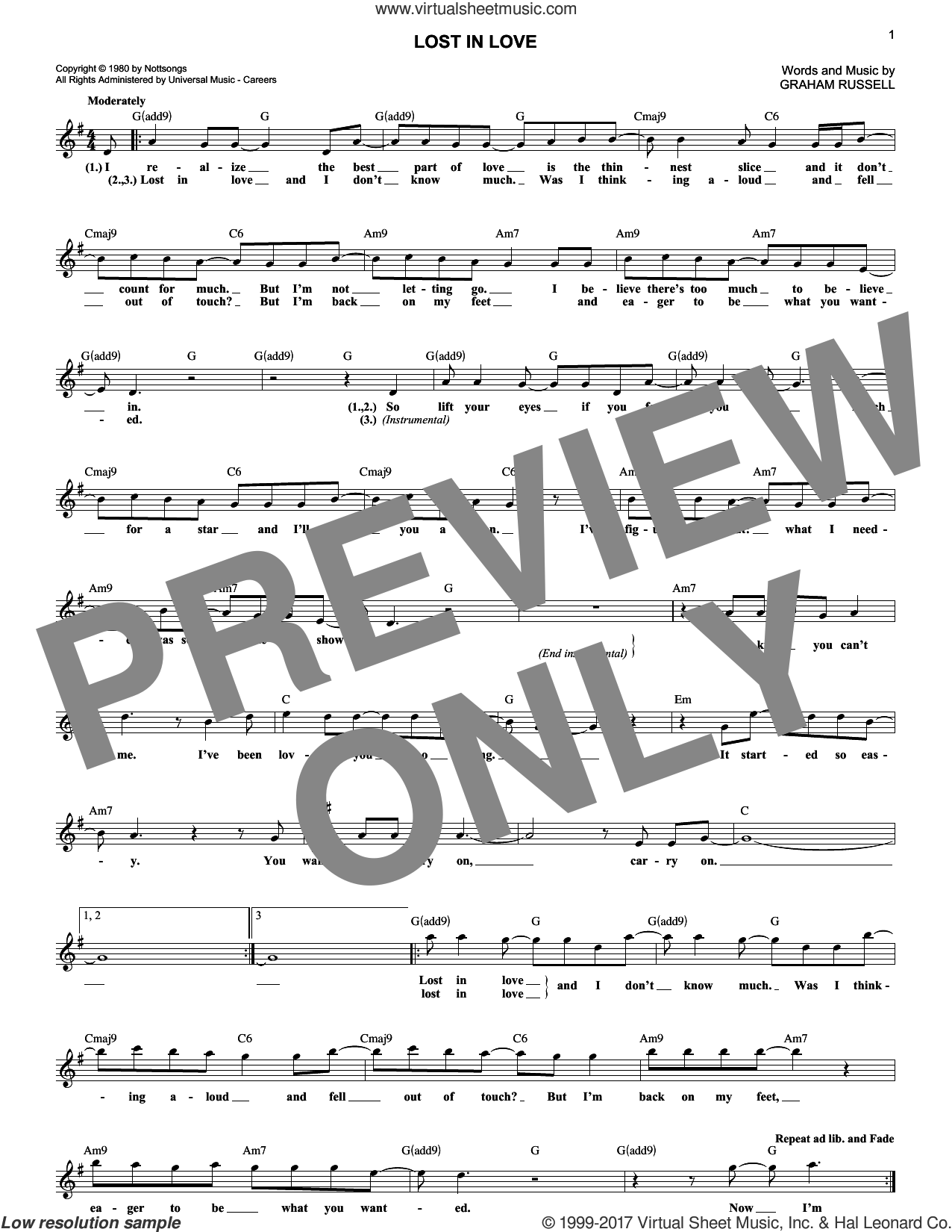 Lost In Love sheet music for voice and other instruments (fake book) by Air Supply and Graham Russell, intermediate. Score Image Preview.