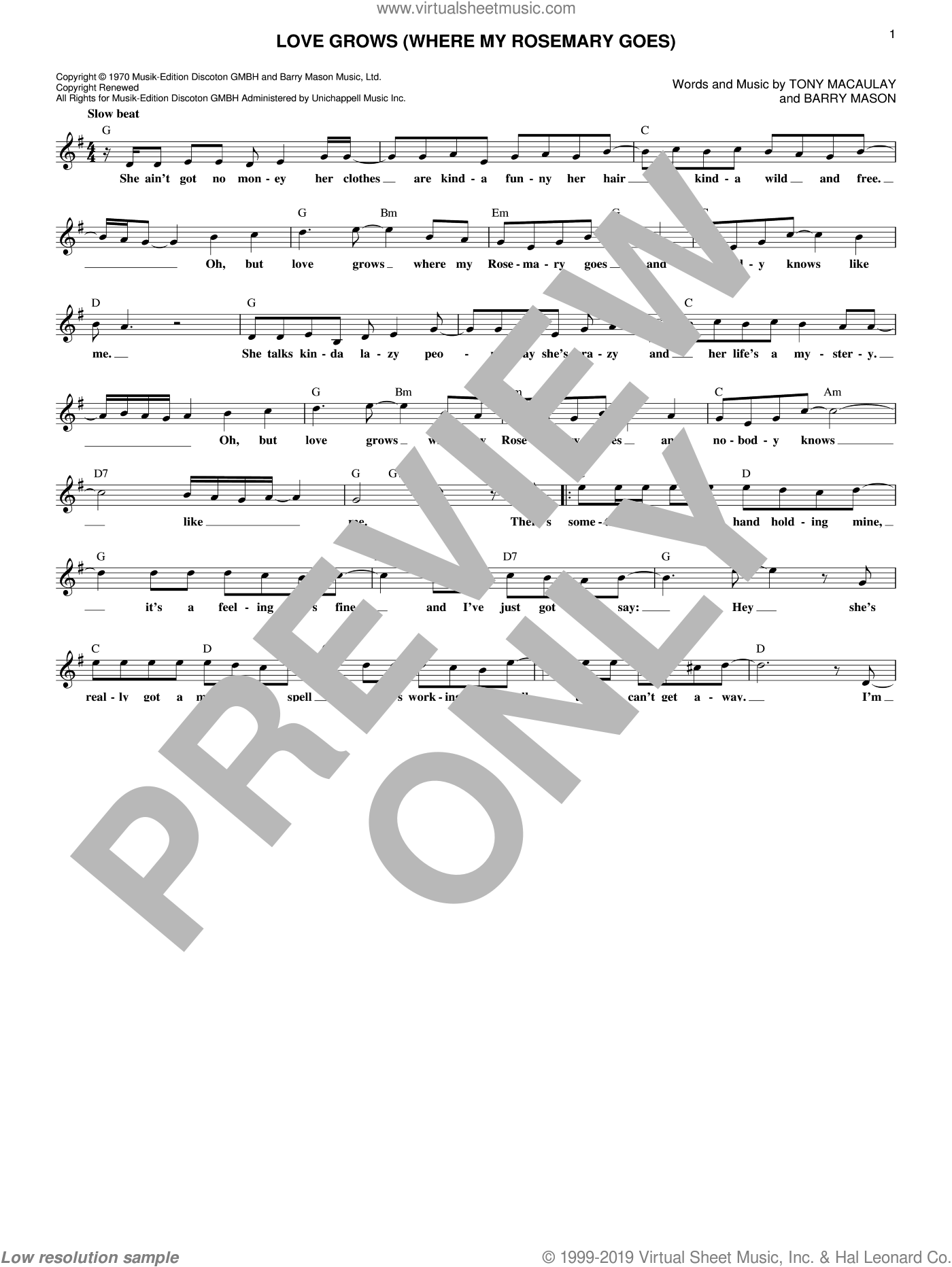 Love Grows (Where My Rosemary Goes) sheet music for voice and other instruments (fake book) by Edison Lighthouse, Barry Mason and Tony MacAuley, intermediate skill level
