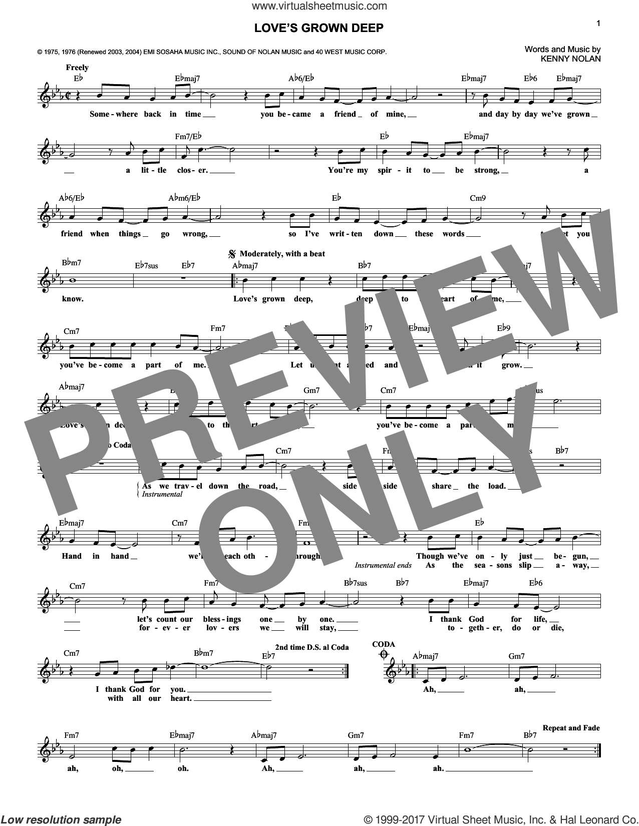 Love's Grown Deep sheet music for voice and other instruments (fake book) by Kenny Nolan, intermediate skill level
