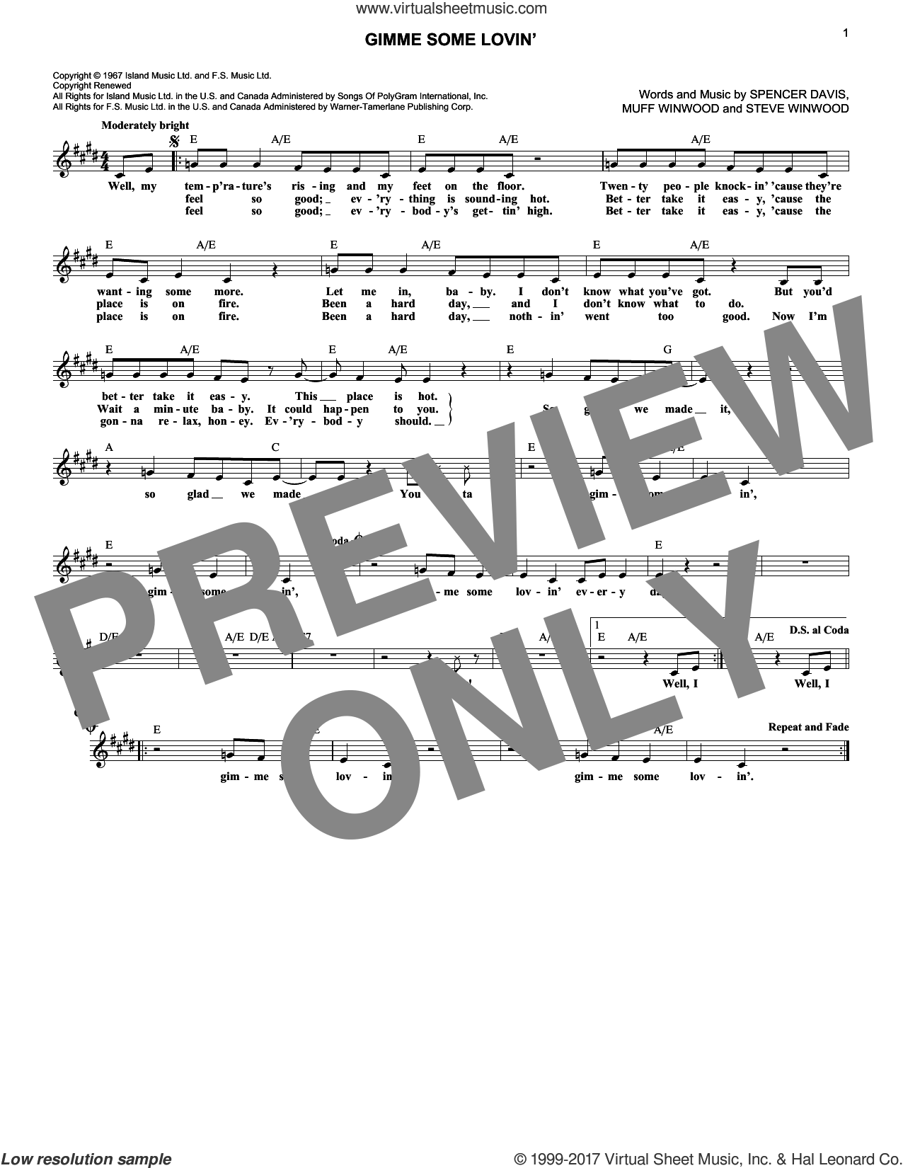 Gimme Some Lovin' sheet music for voice and other instruments (fake book) by The Spencer Davis Group, Muff Winwood, Spencer Davis and Steve Winwood, intermediate skill level