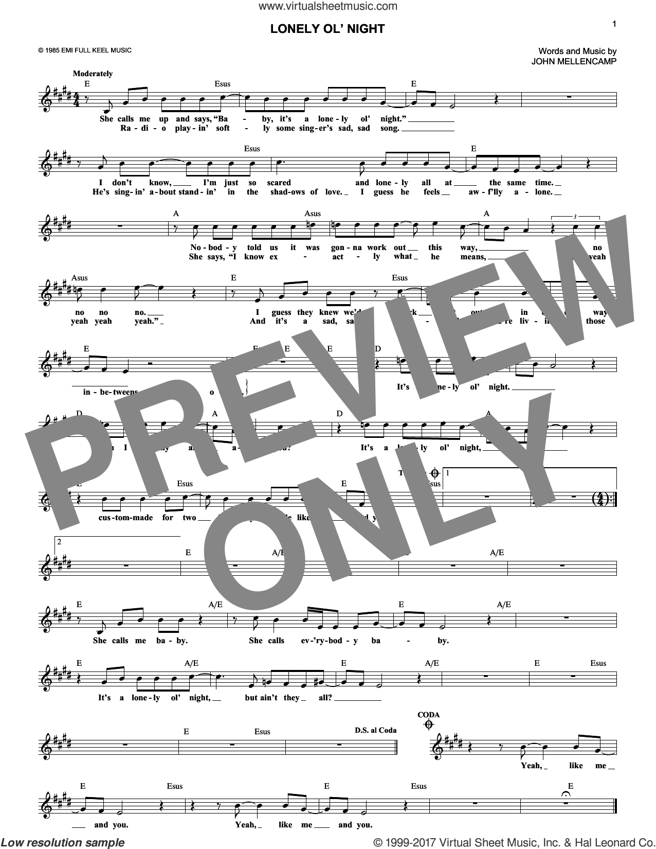 Lonely Ol' Night sheet music for voice and other instruments (fake book) by John Mellencamp, intermediate skill level