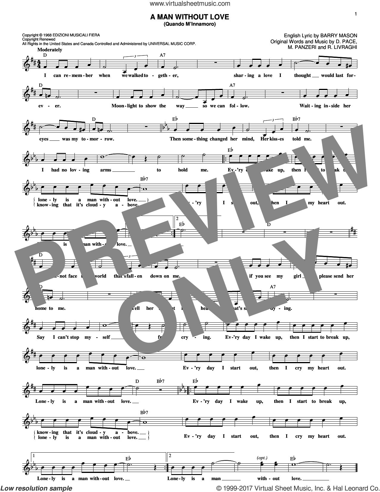 A Man Without Love (Quando M'Innamoro) sheet music for voice and other instruments (fake book) by Engelbert Humperdinck, Barry Mason, D. Pace, M. Panzeri and R. Livraghi, intermediate
